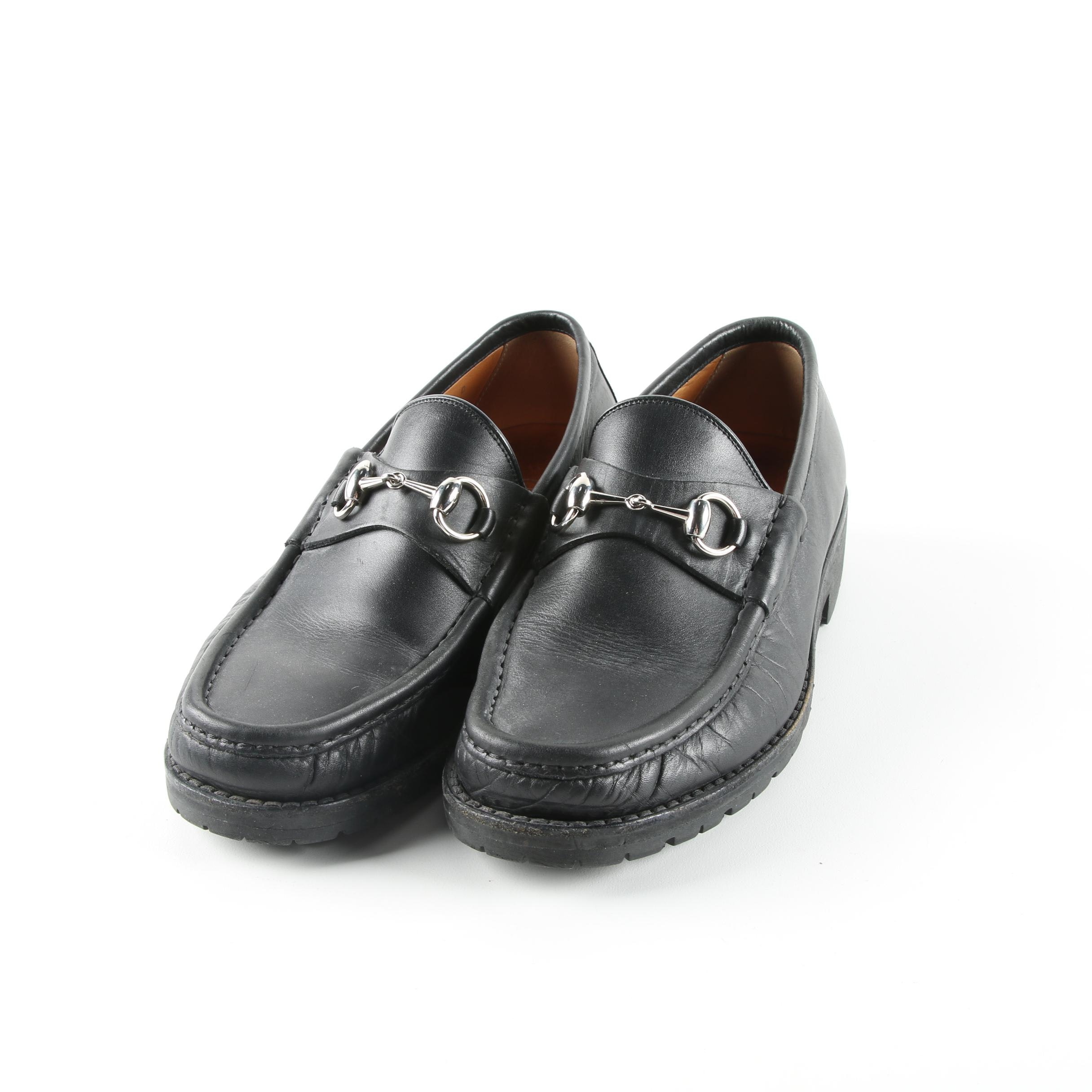 Men's Gucci Black Leather Horsebit Loafer