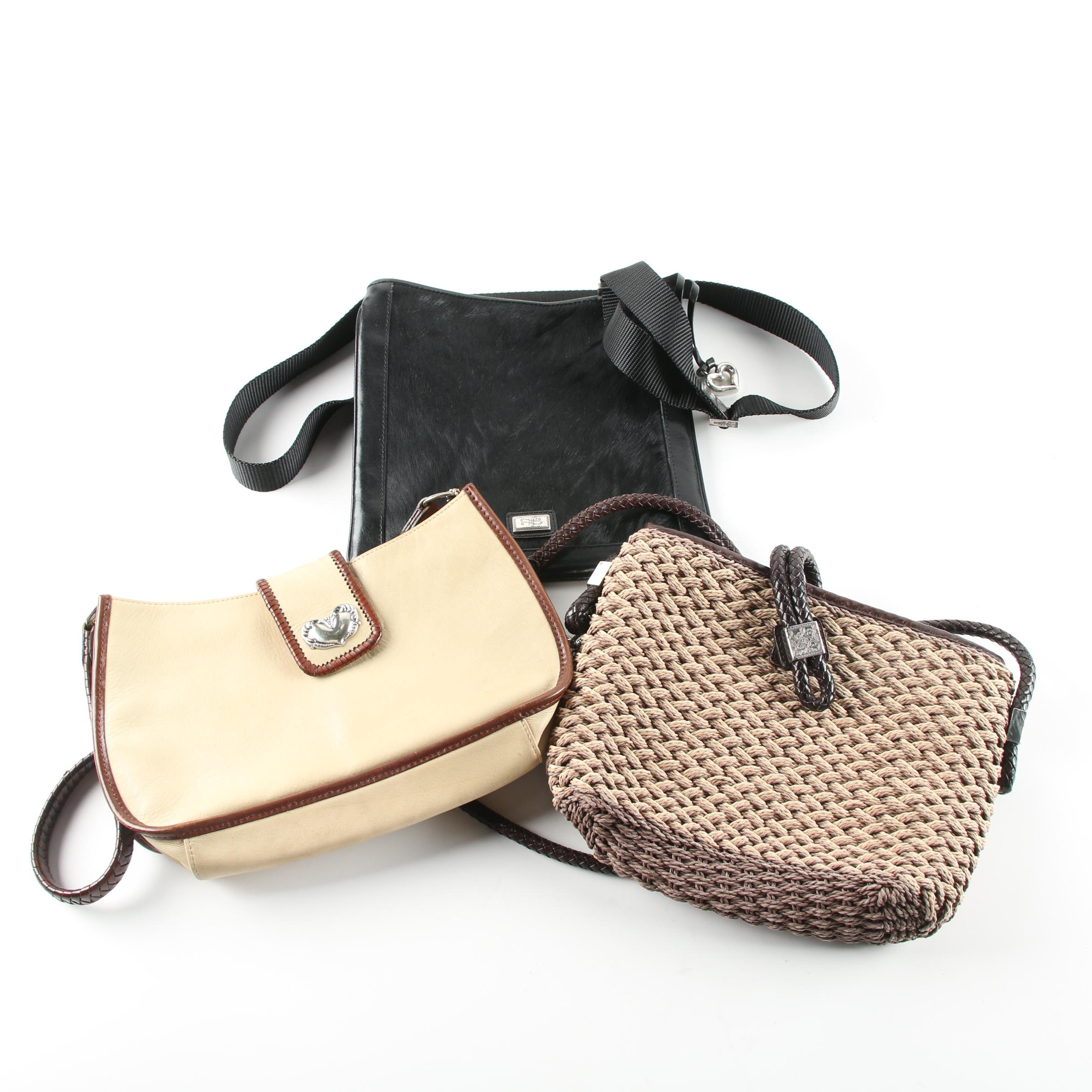 Leather and Raffia Handbags Including Brighton and Fossil