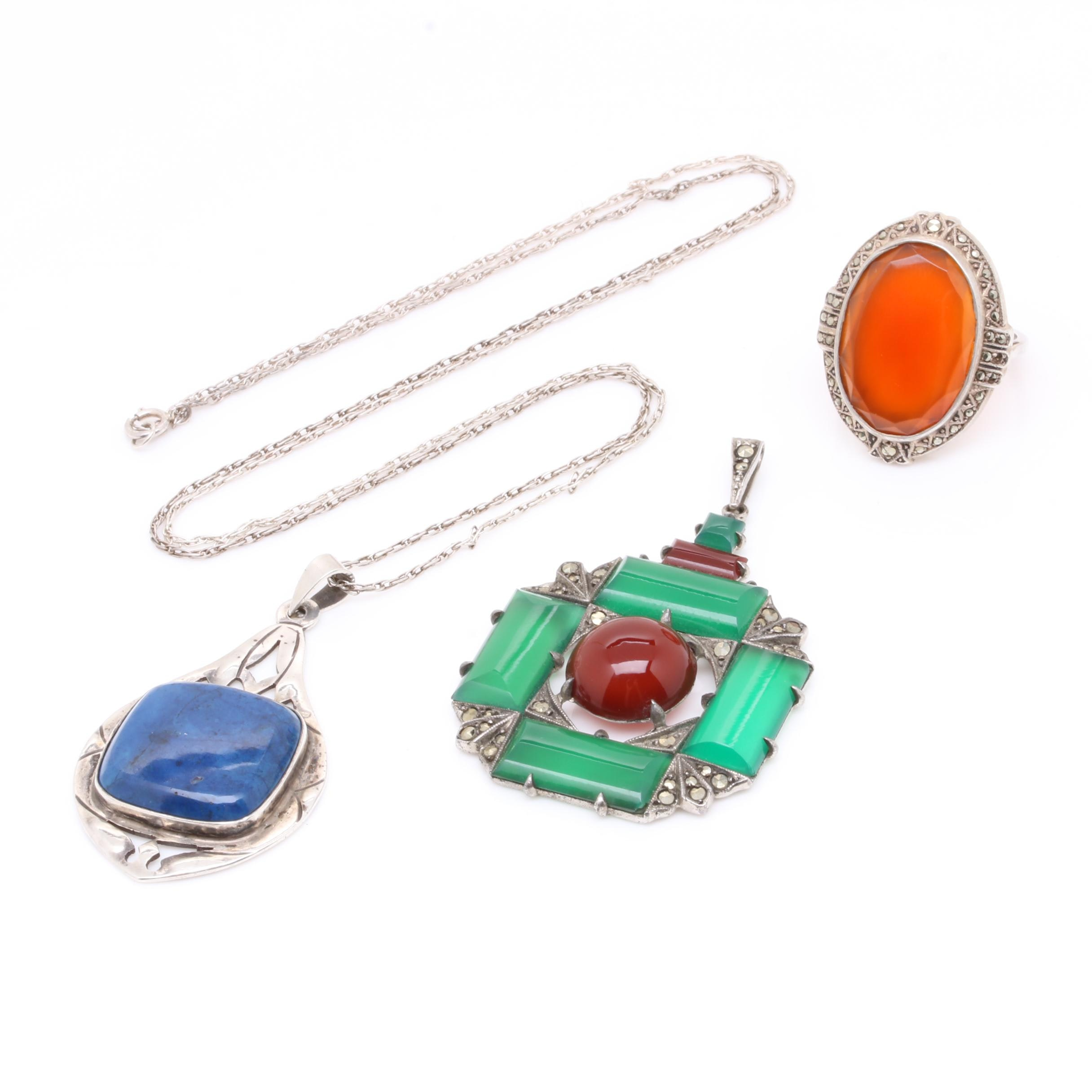 Sterling Silver Jewelry Featuring Green Chalcedony, Carnelian and Lapis Lazuli