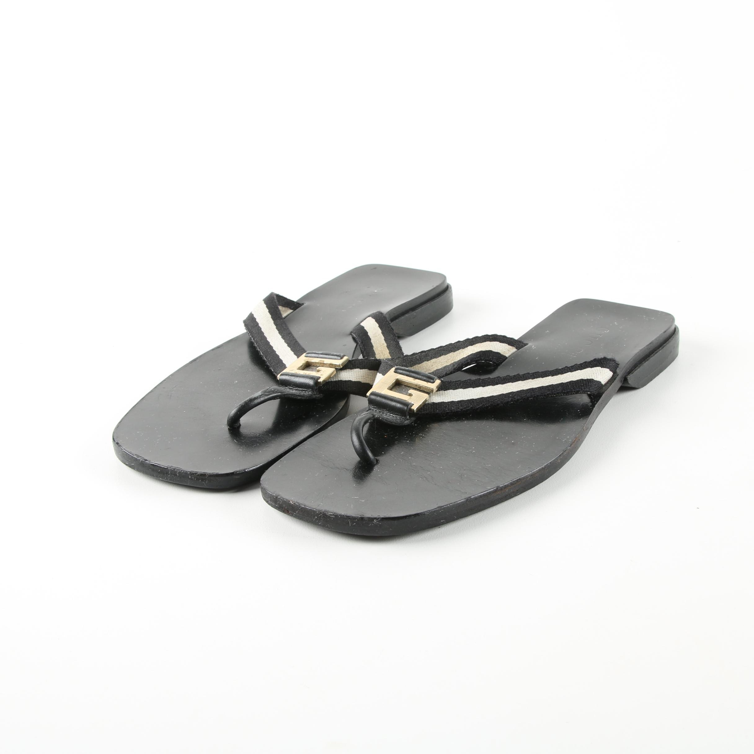 Gucci Canvas and Leather Thong Sandals