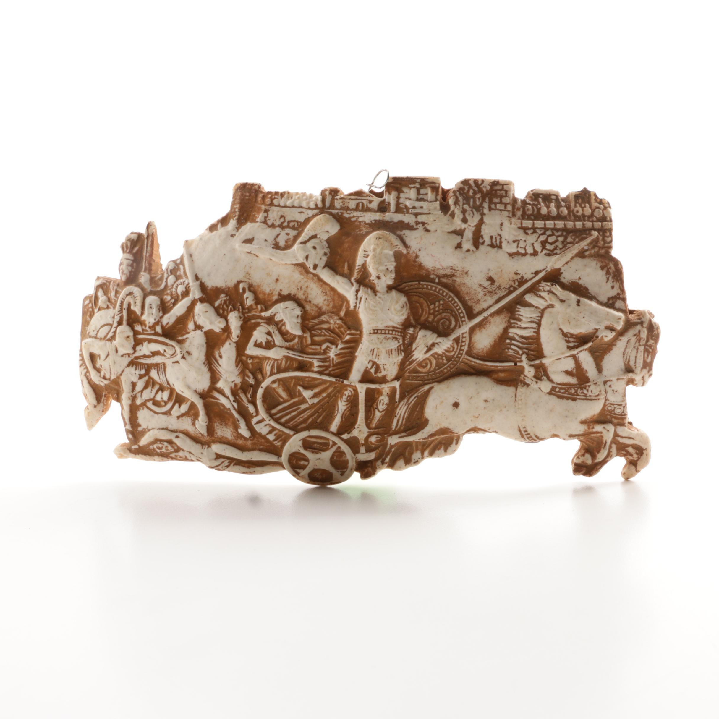 Roman Warrior in Chariot Themed Ceramic Wall Plaque