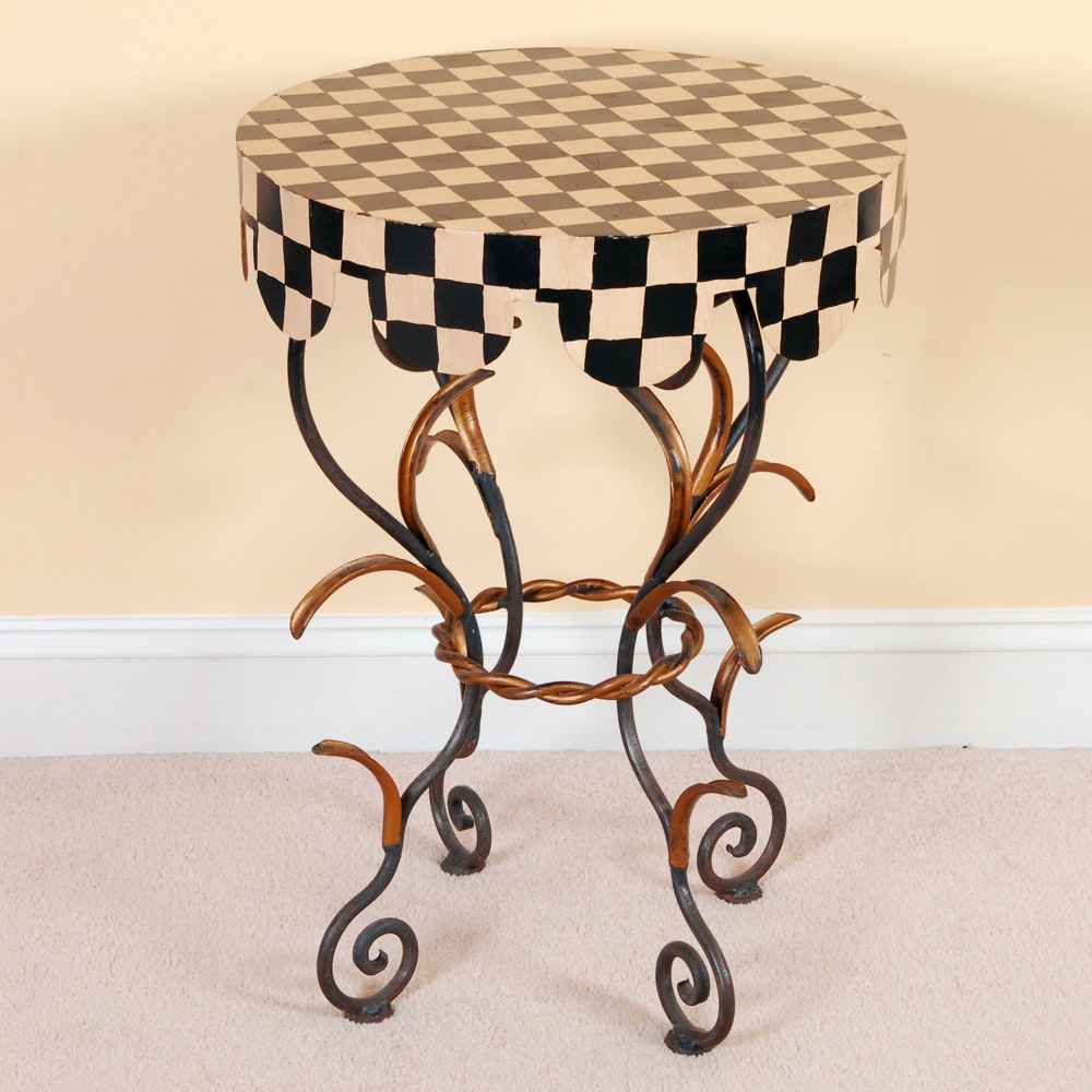 Black and Cream Checked Painted Accent Table