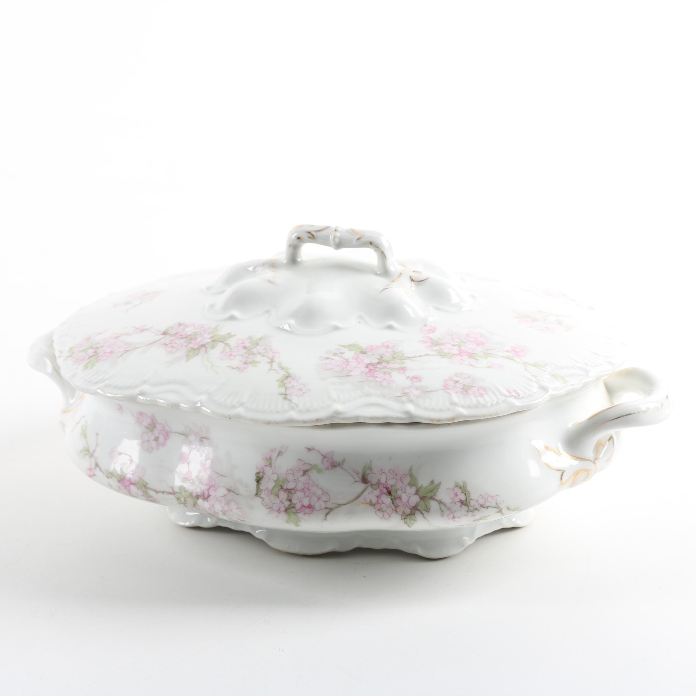 Antique Floral Porcelain Covered Vegetable Bowl ca. 1890-1908