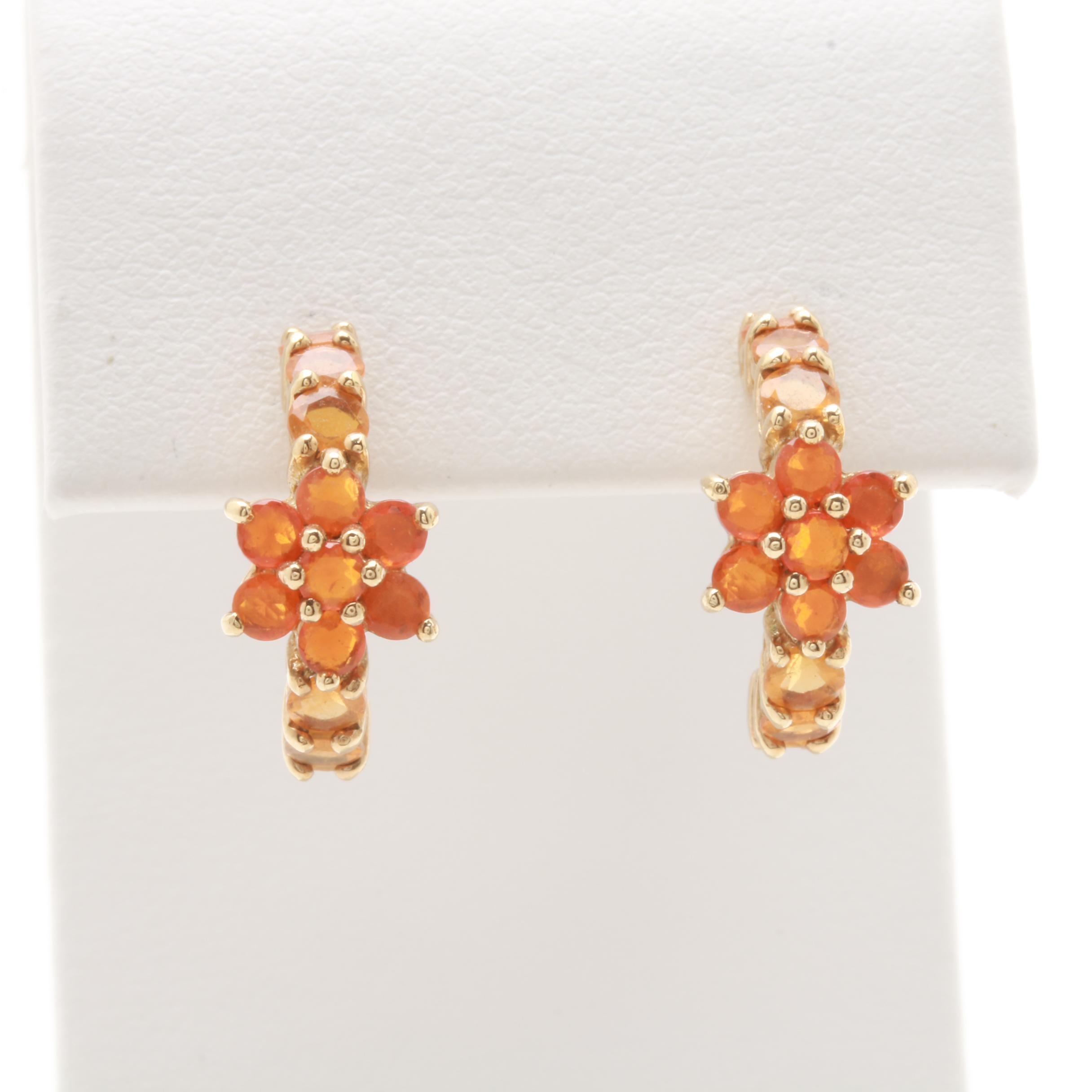 10K Yellow Gold Fire Opal Flower Earrings