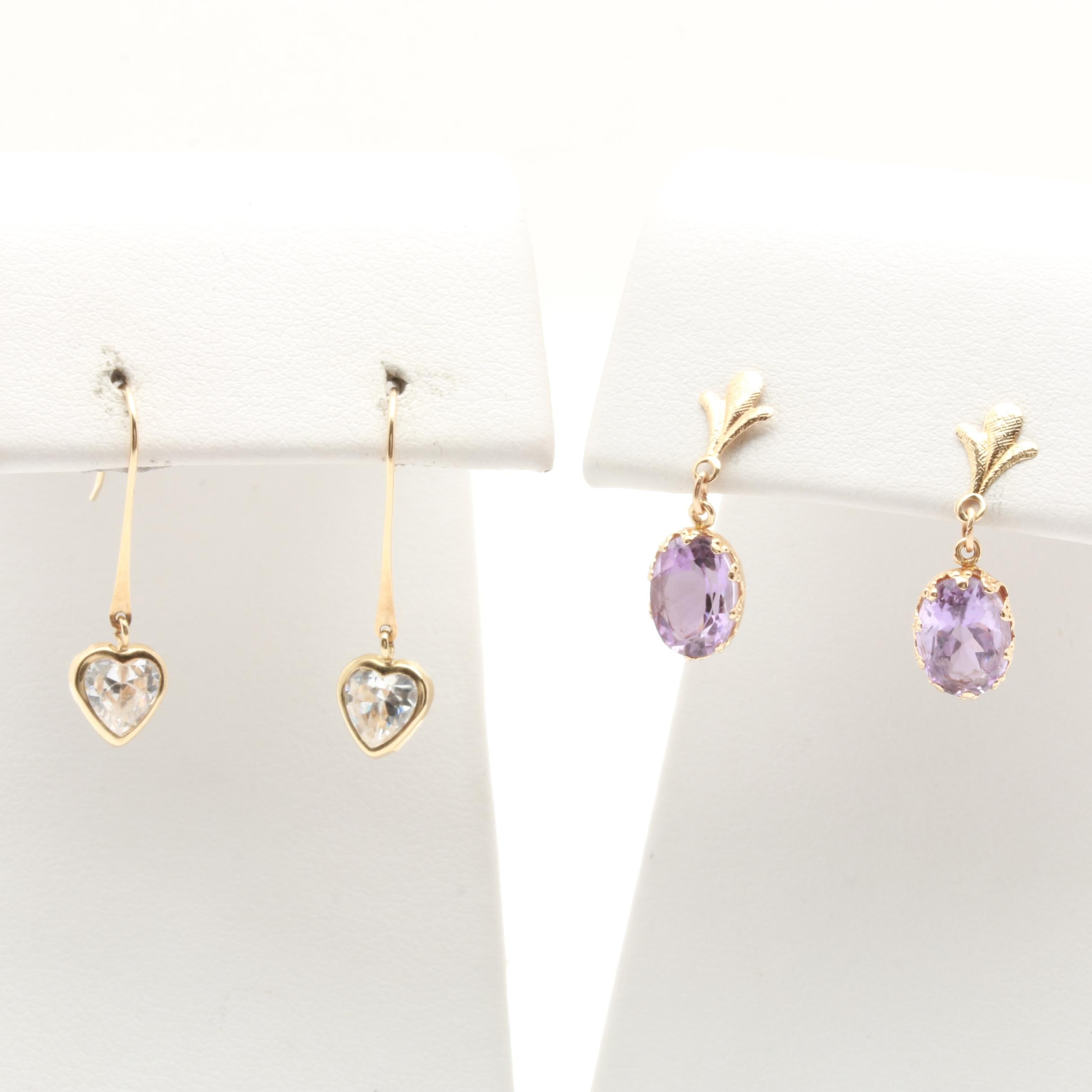 14K Yellow Gold Cubic Zirconia and Amethyst Earrings