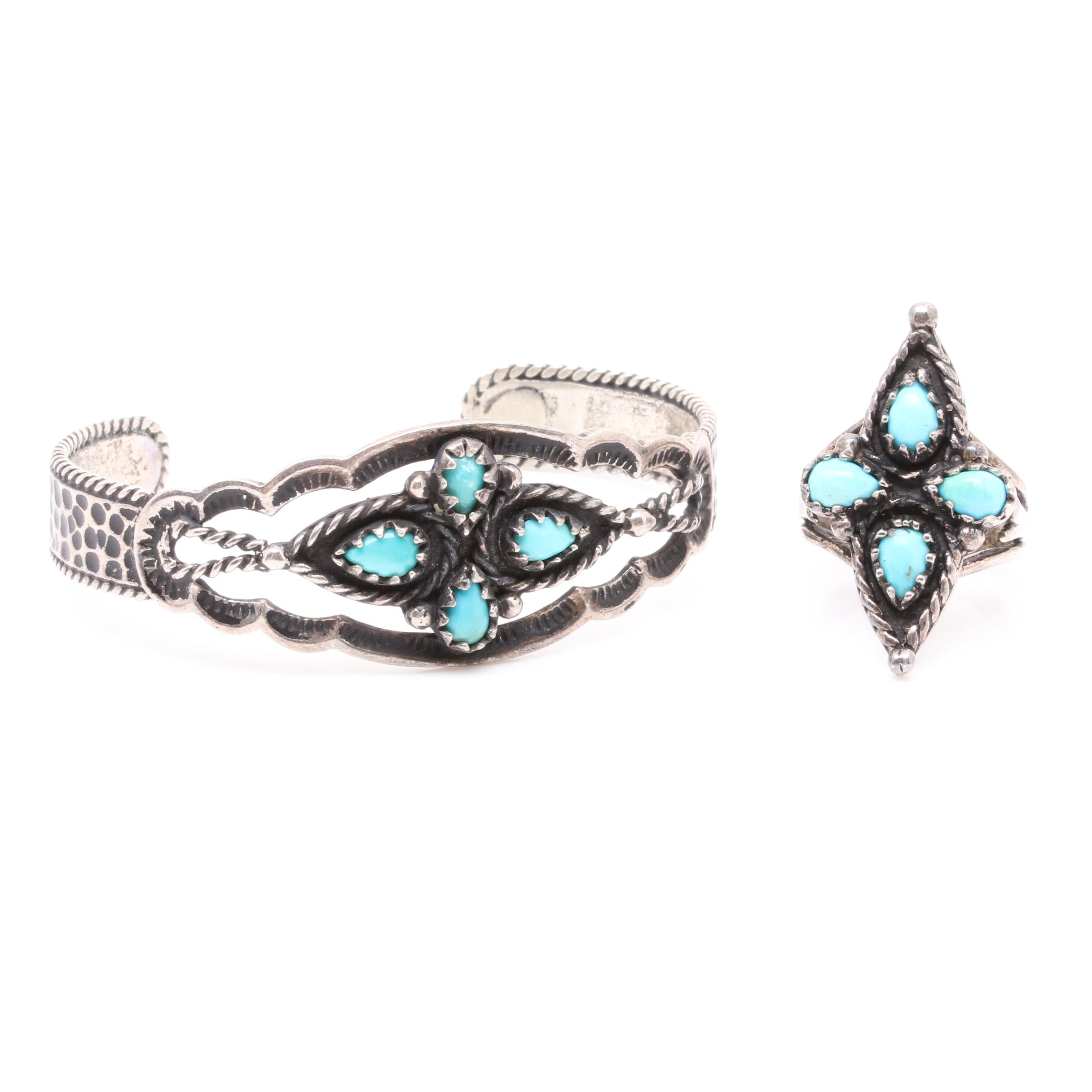 Southwestern Style Sterling Silver Turquoise Cuff Bracelet and Ring
