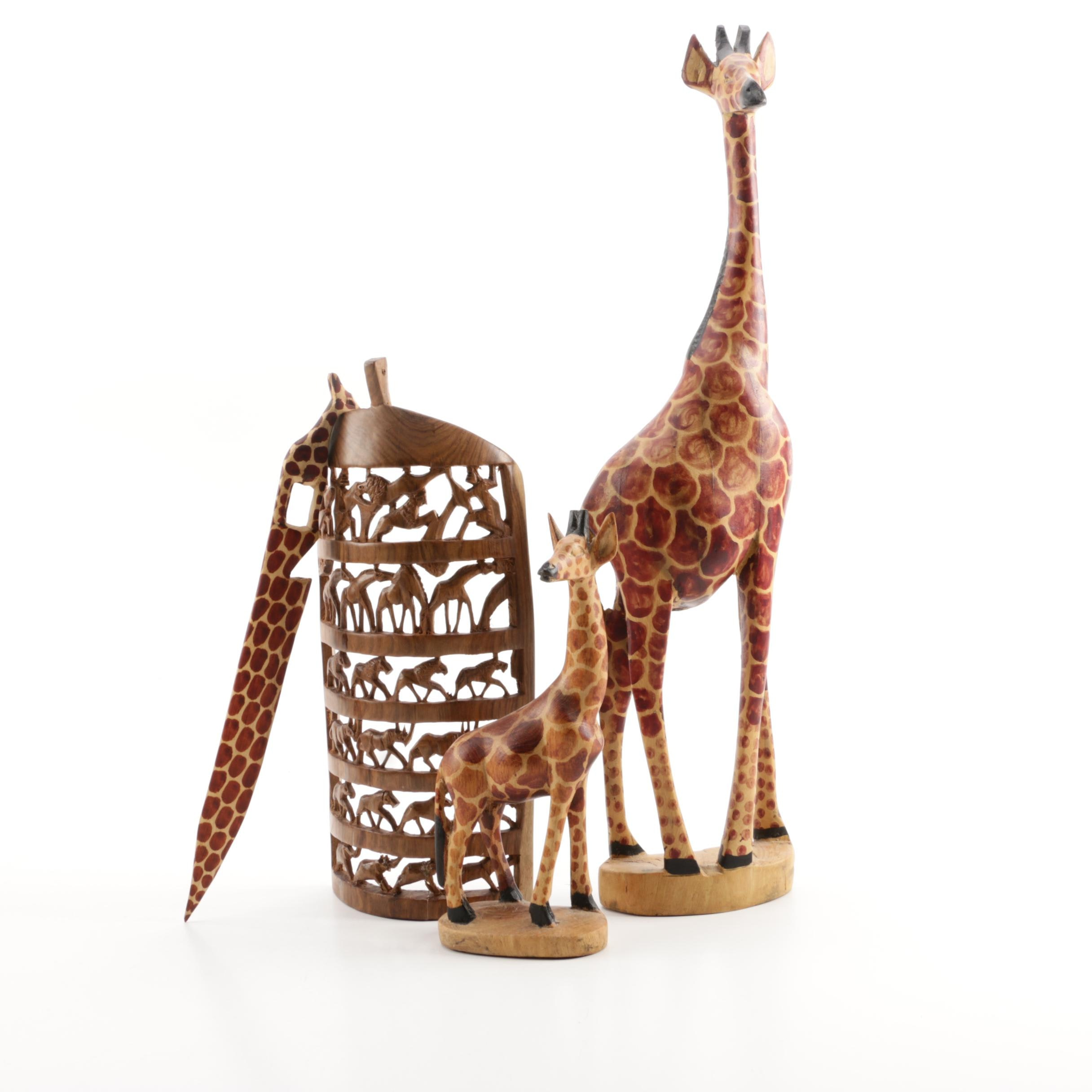 African Style Wooden Animal Figurines Including Giraffes