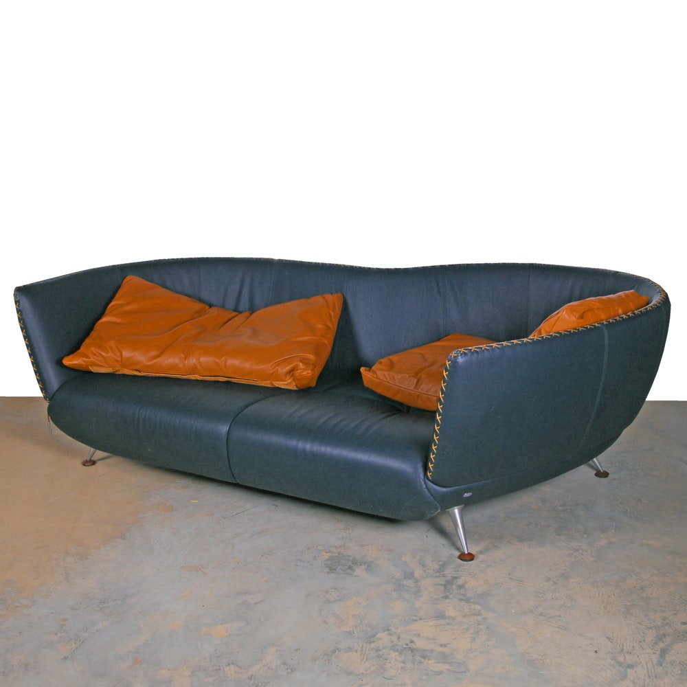 Mid Century Modern Style Serpentine Back Leather Sofa