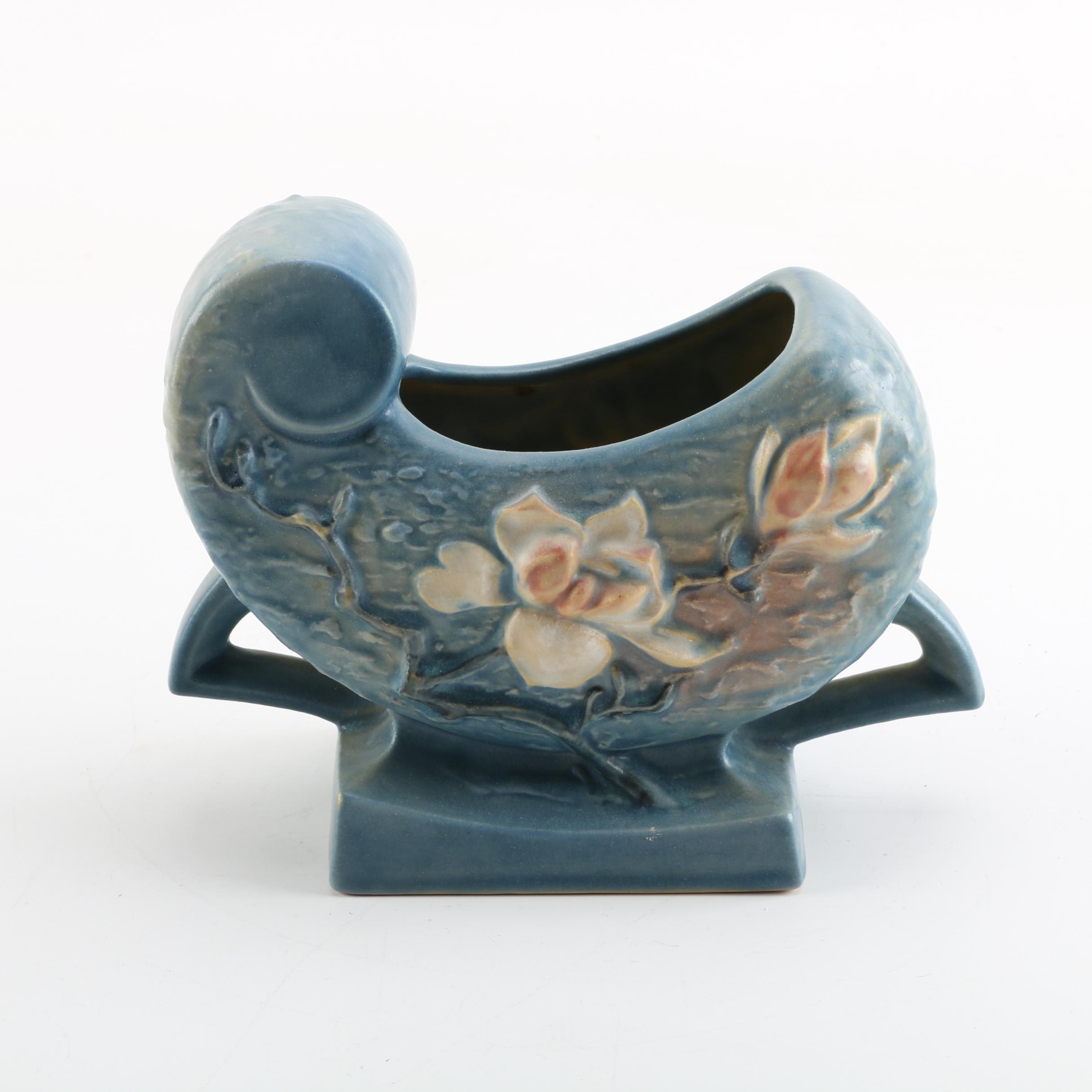 "Roseville Pottery ""Magnolia"" Fan Vase"