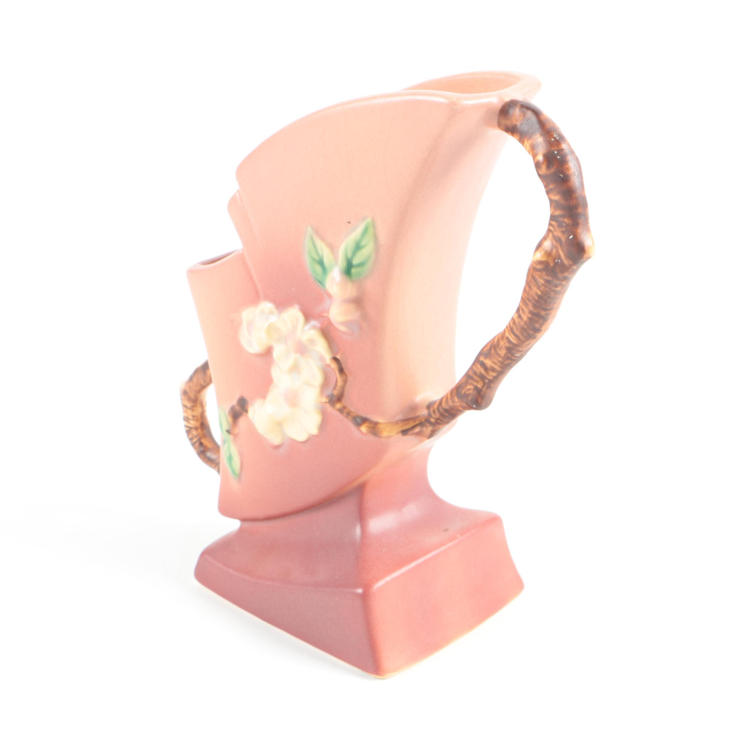 """1940s Roseville Pottery """"Apple Blossom"""" Handled Vase"""