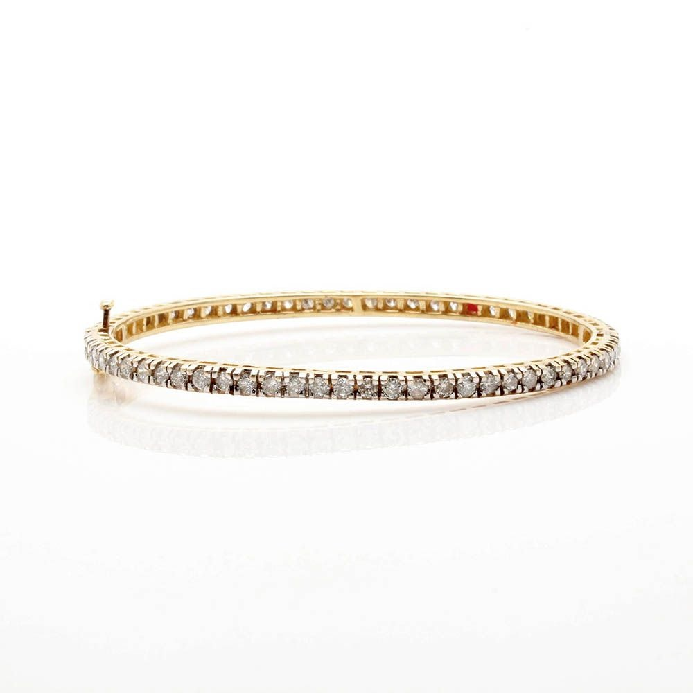14K Yellow Gold 2.97 CTW Diamond Hinged Bangle
