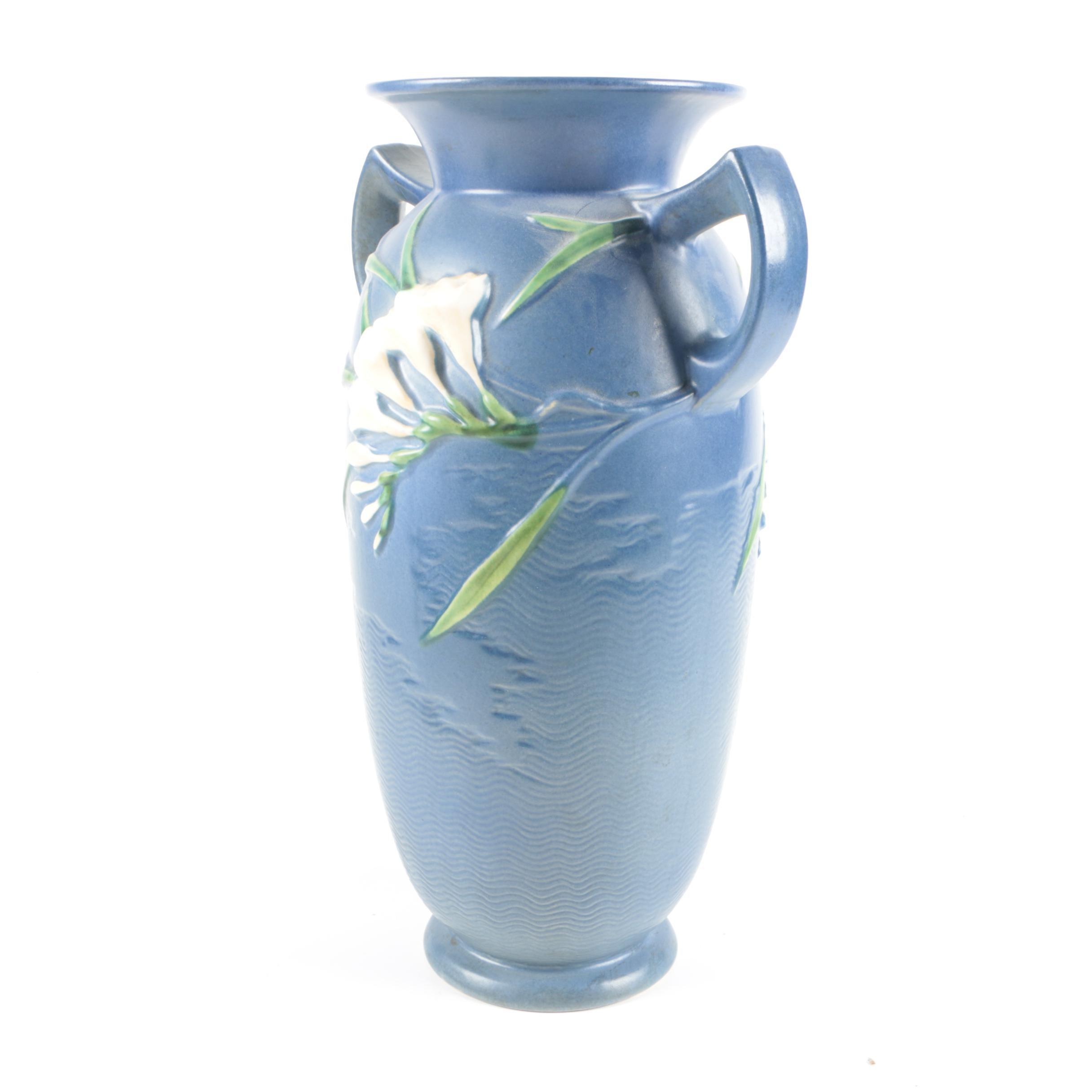 """Roseville Pottery """"Freesia"""" Double Handled Vase"""