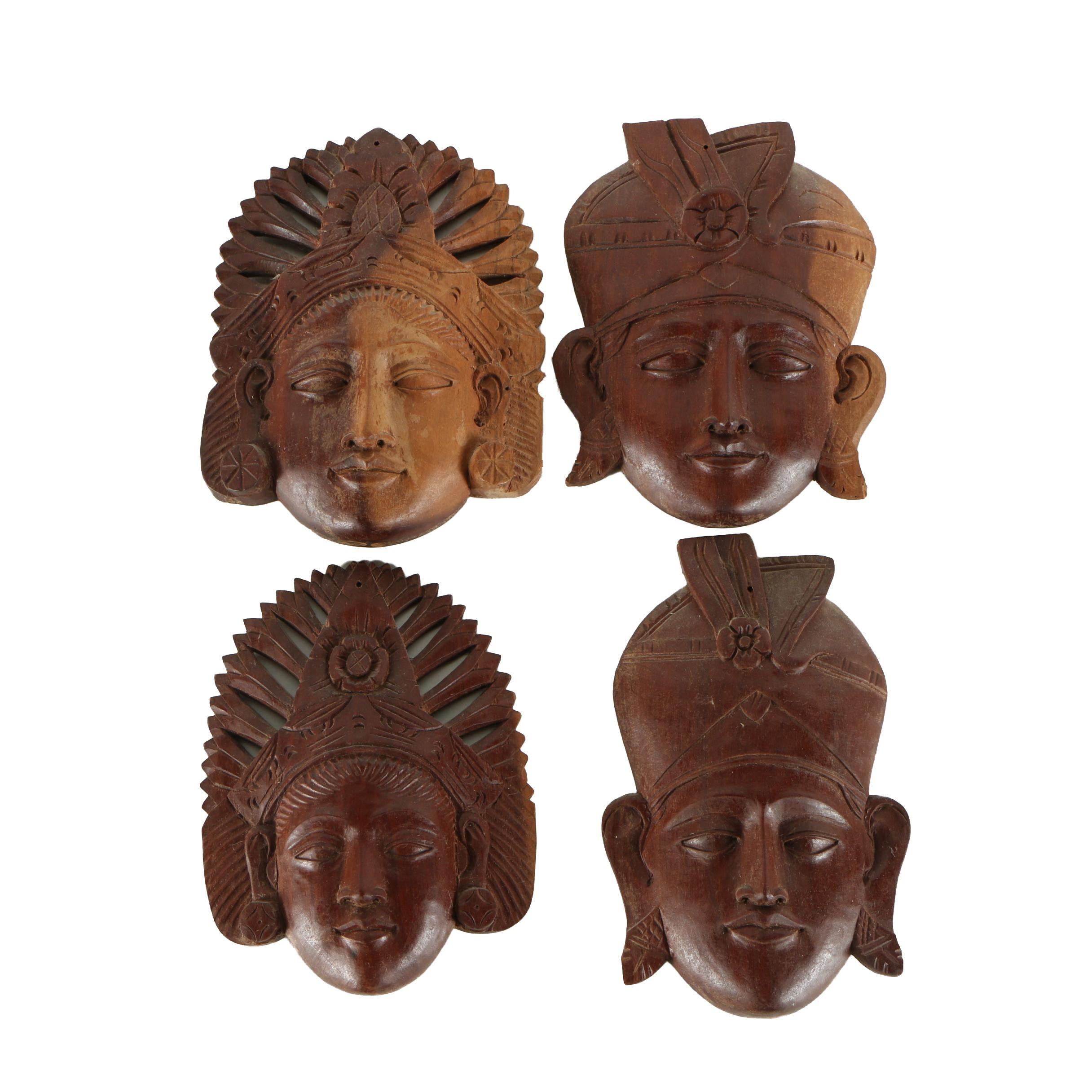 Balinese Carved Wood Wall Masks