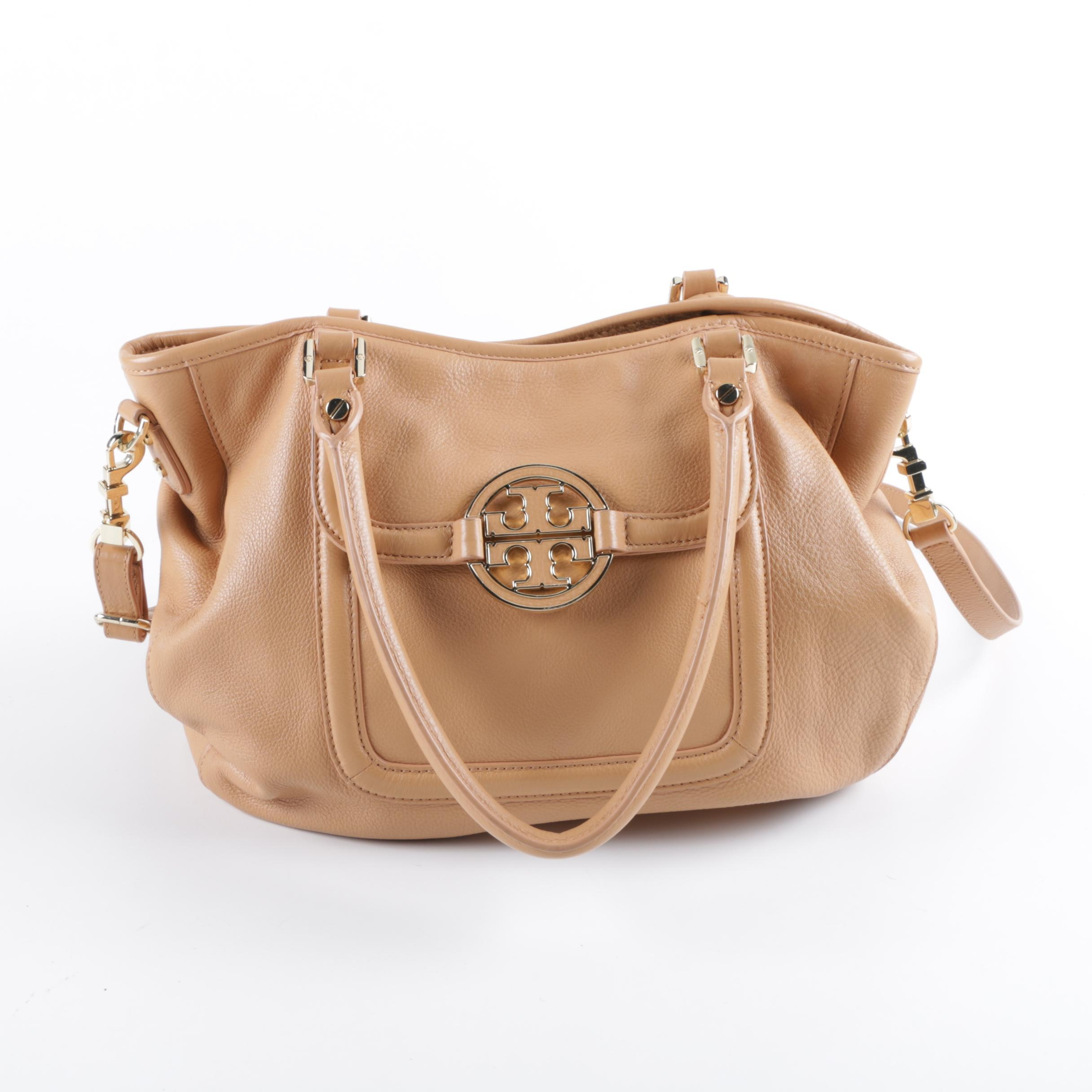 Tory Burch Camel-Colored Leather Convertible Satchel