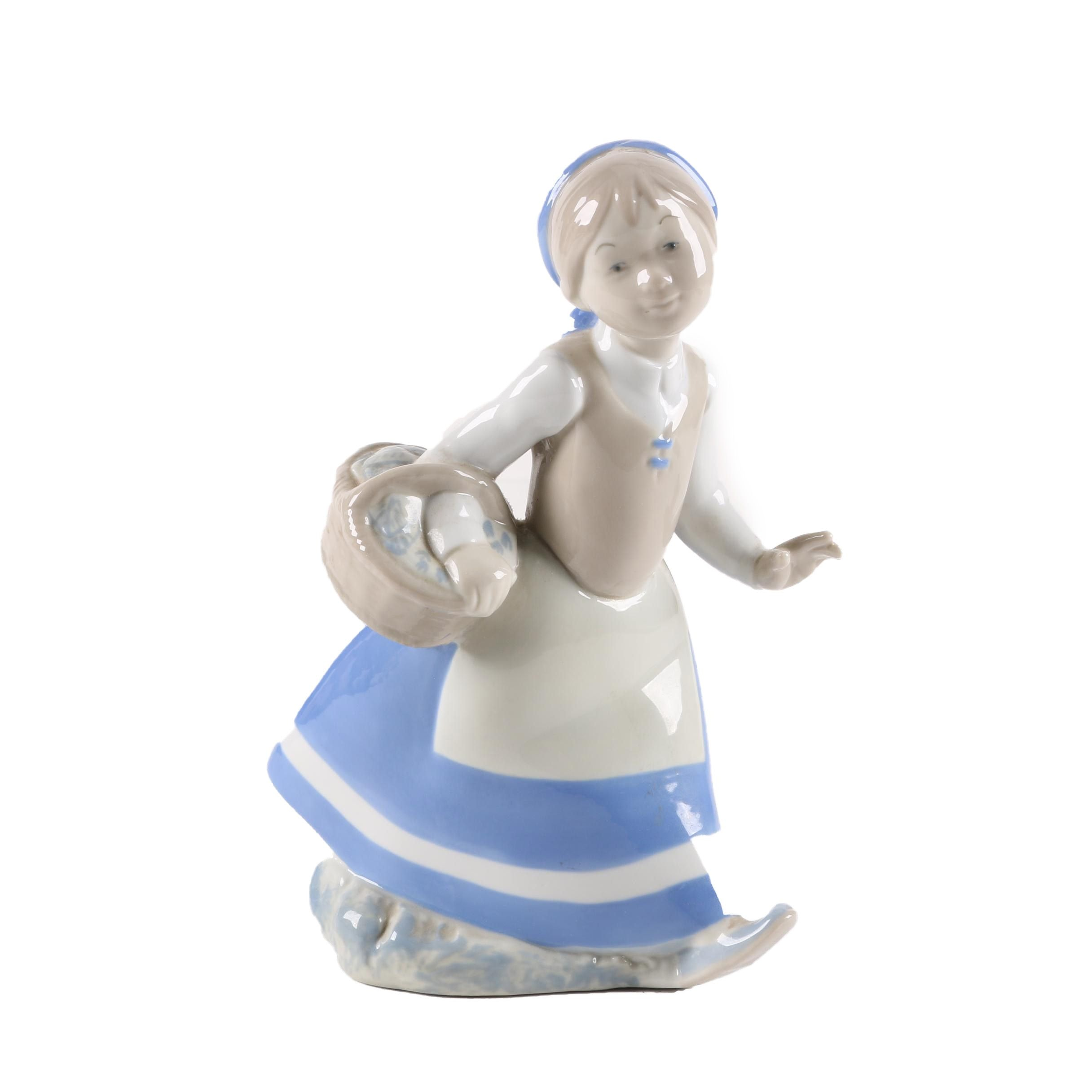 Rex Hand Made Porcelain Figurine of Girl with Basket