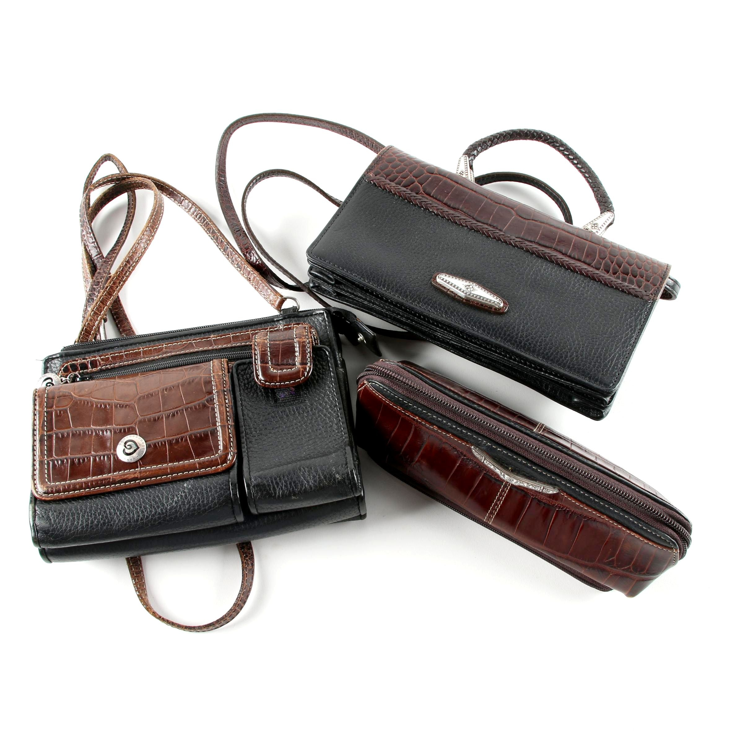Brighton Black and Brown Leather Handbags and Clutch Wallet