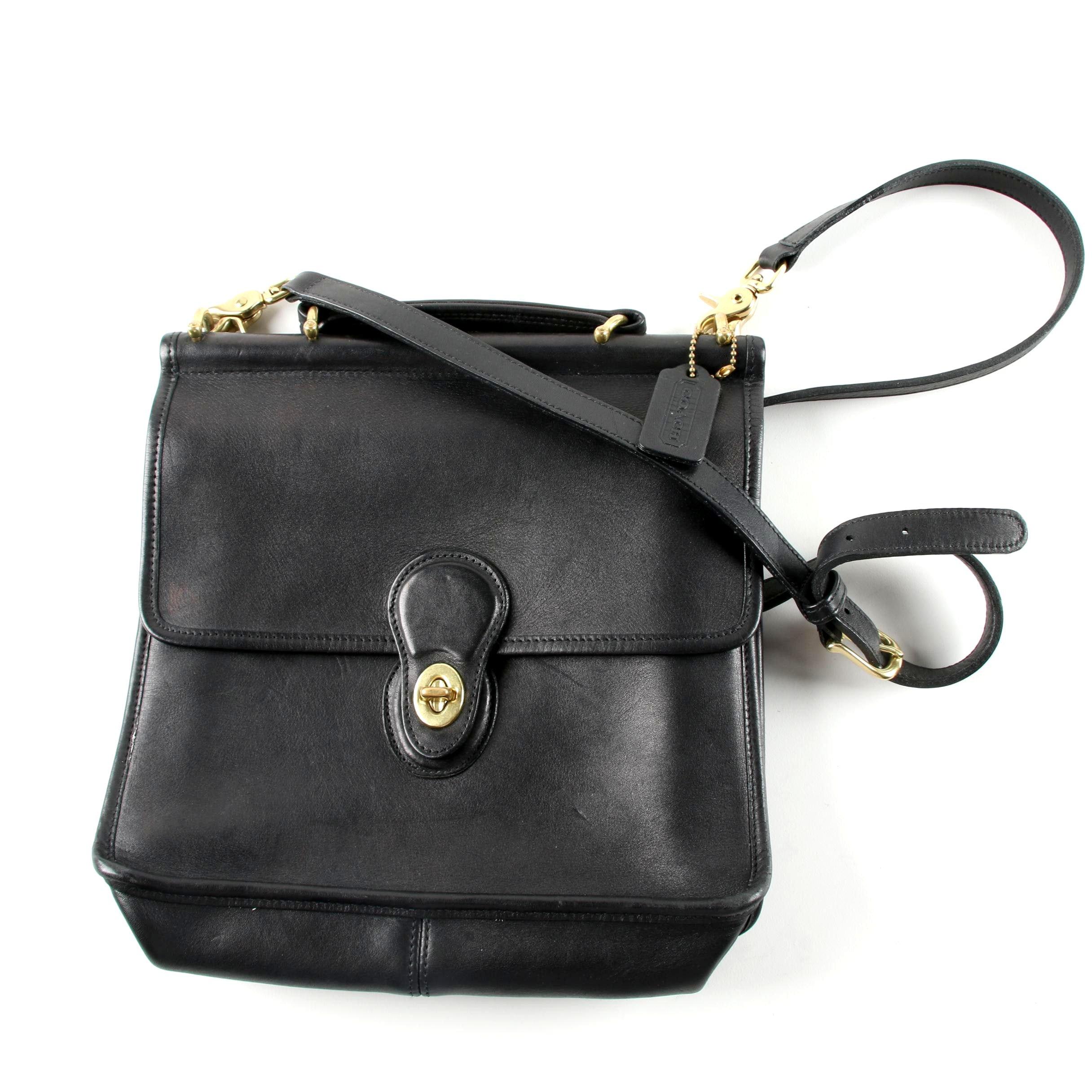 Coach Willis Black Leather Crossbody Bag