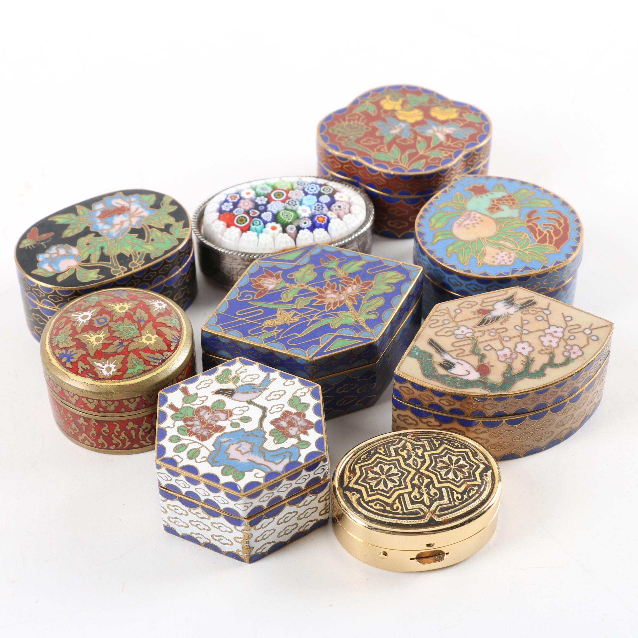 Chinese Cloisonne and Millefiori Metal Trinket Boxes