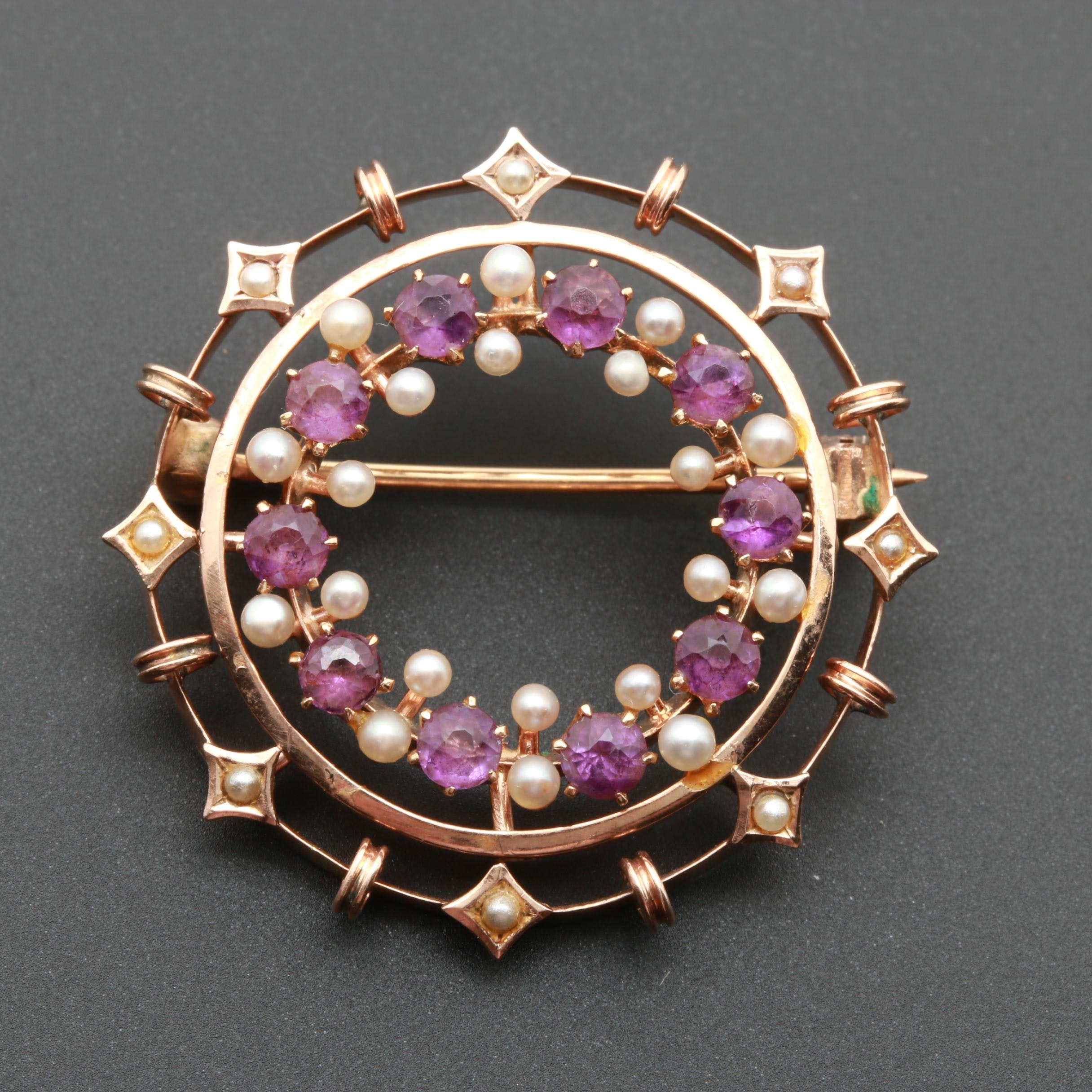 Antique 14K Yellow Gold Amethyst and Cultured Pearl Brooch