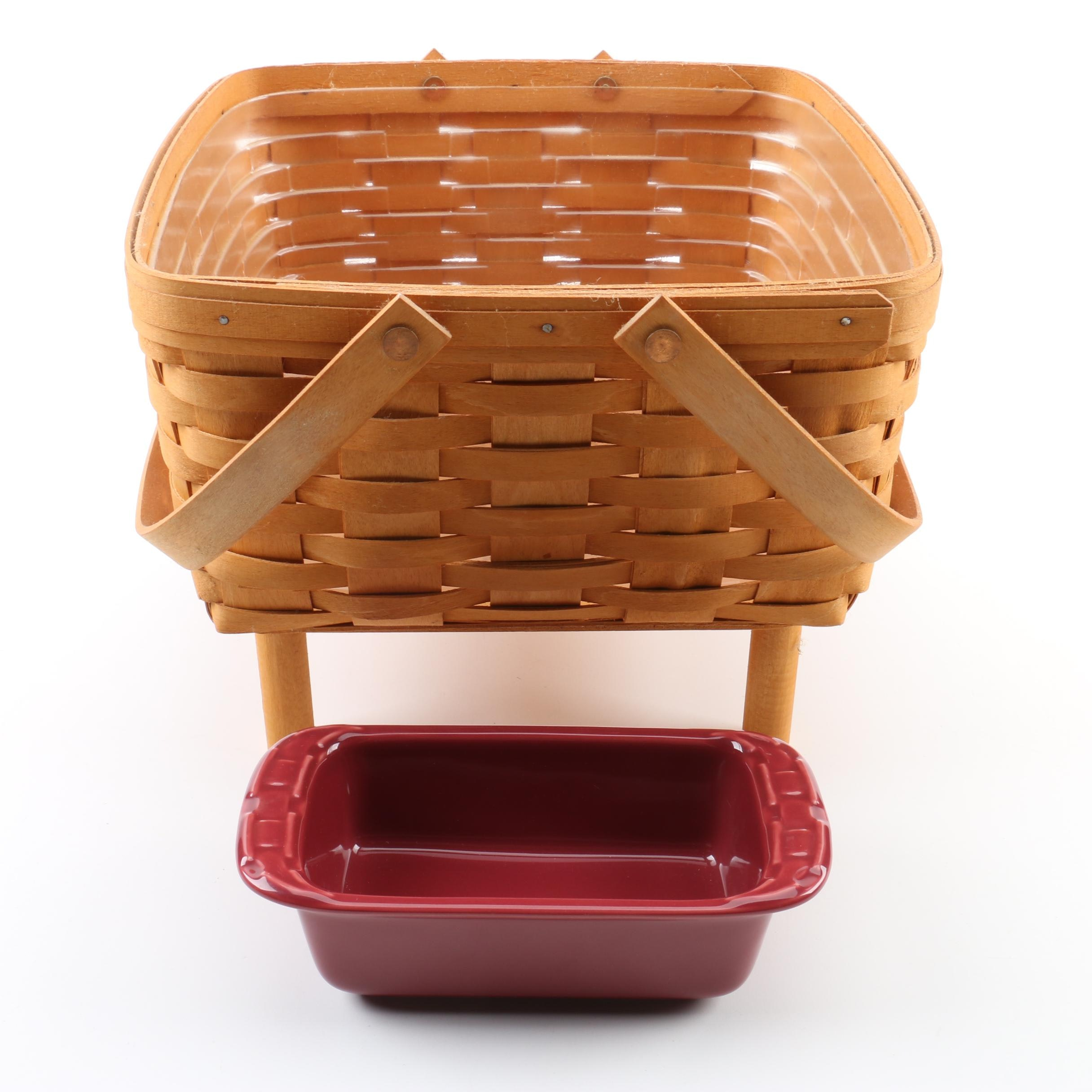 Longaberger Basket with Table and Ironstone Casserole