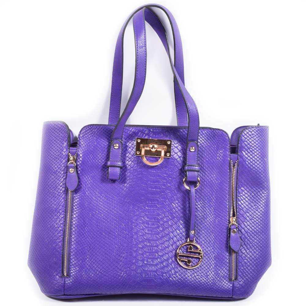 Segolene Paris Purple Faux Leather Snakeskin Handbag