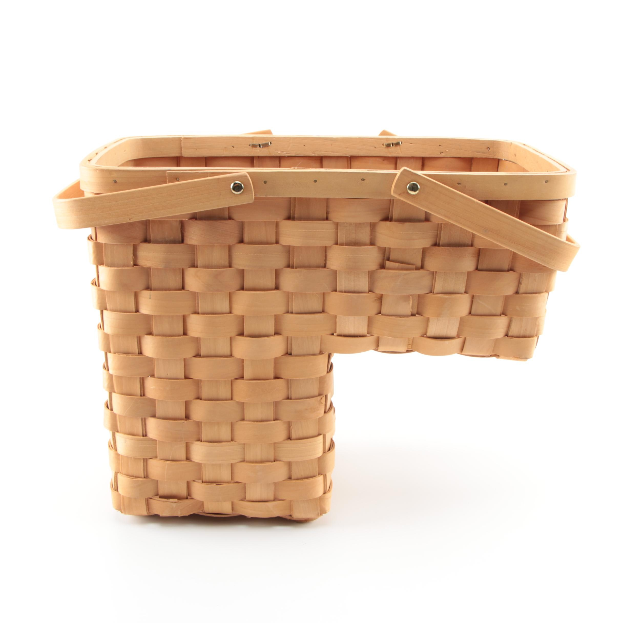 Woven Wood Stair Basket with Handles