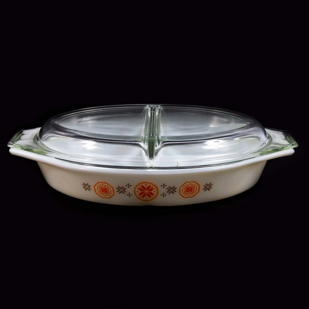 Vintage Pyrex Town & Country Divided Casserole Dish