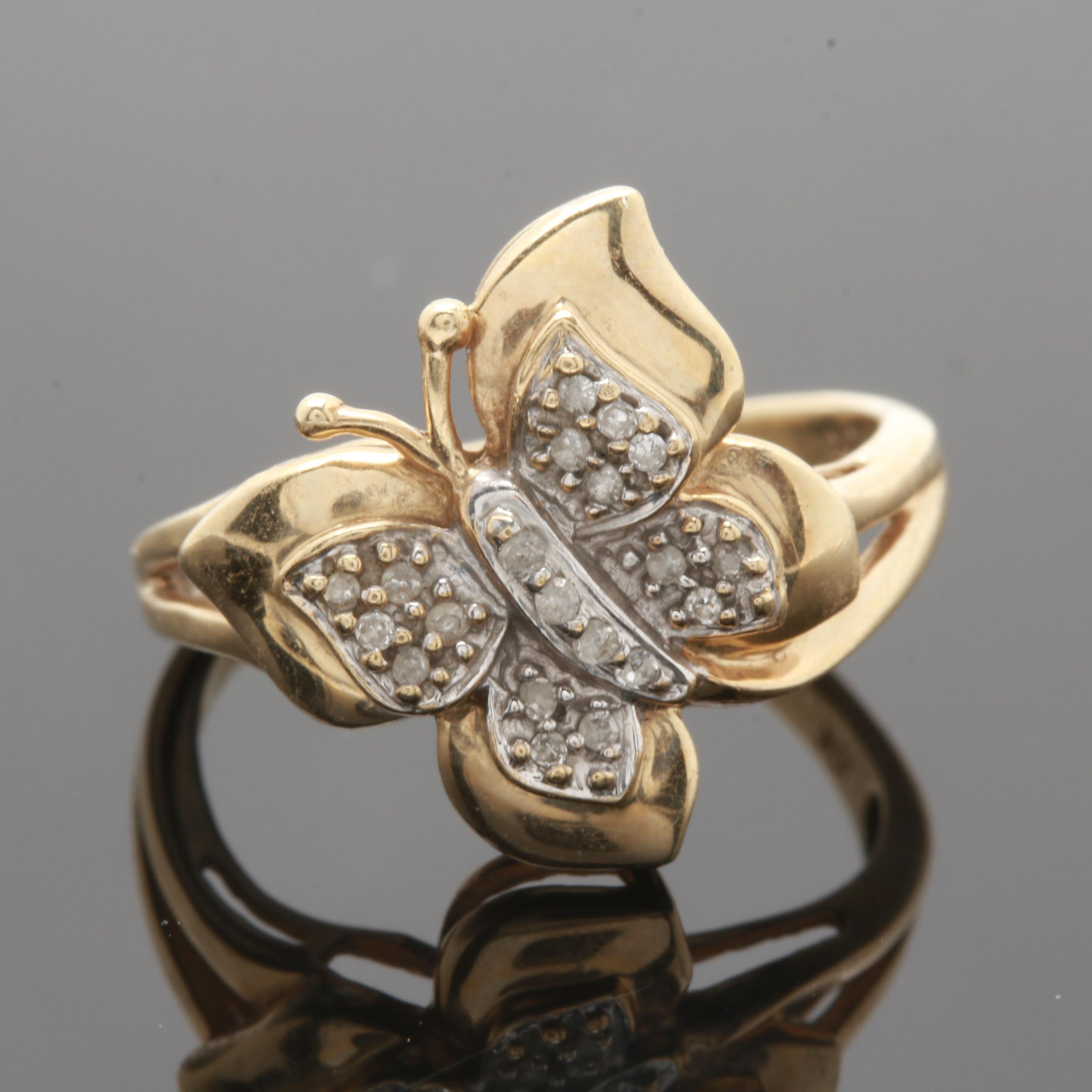 10K Yellow Gold Diamond Butterfly Ring
