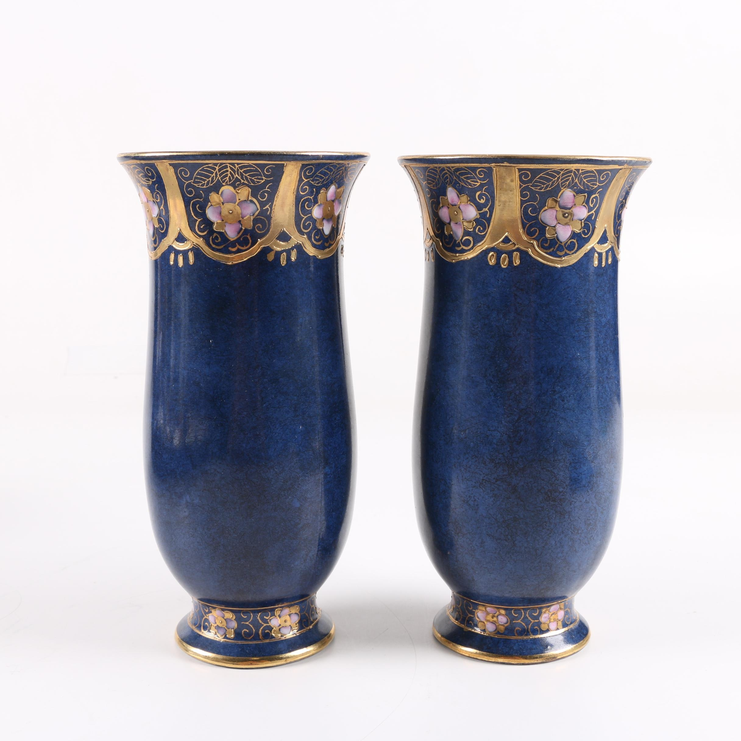 Toyo Chinese Hand-Painted Gilt Porcelain Vases