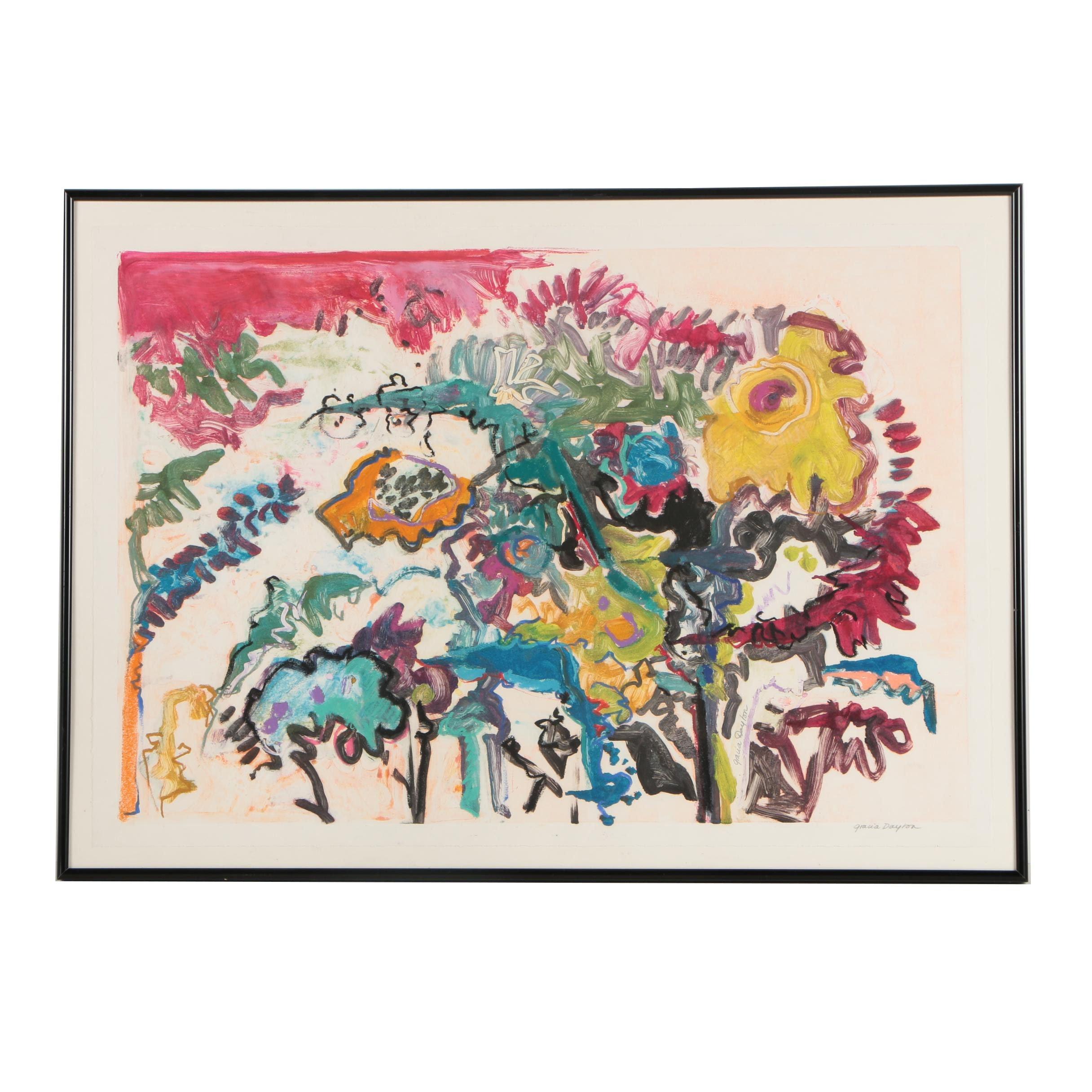 """Gracia Dayton Monotype """"Fantasy Gardens"""""""