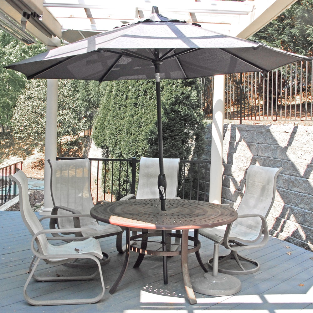 Patio Dining Table, Umbrella and Sling Back Chair Set