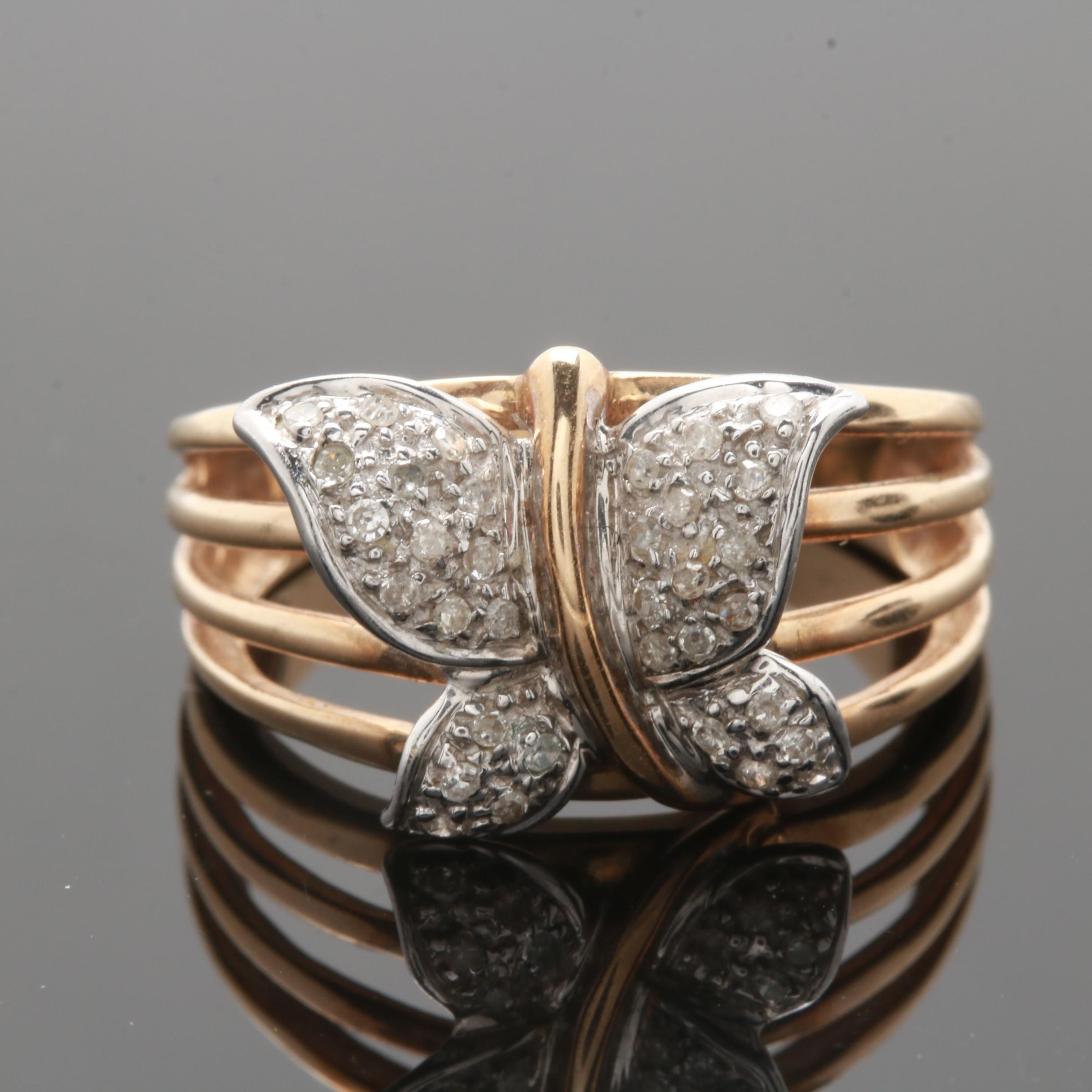 10K Yellow Gold Diamond Butterfly Ring with White Gold Accents