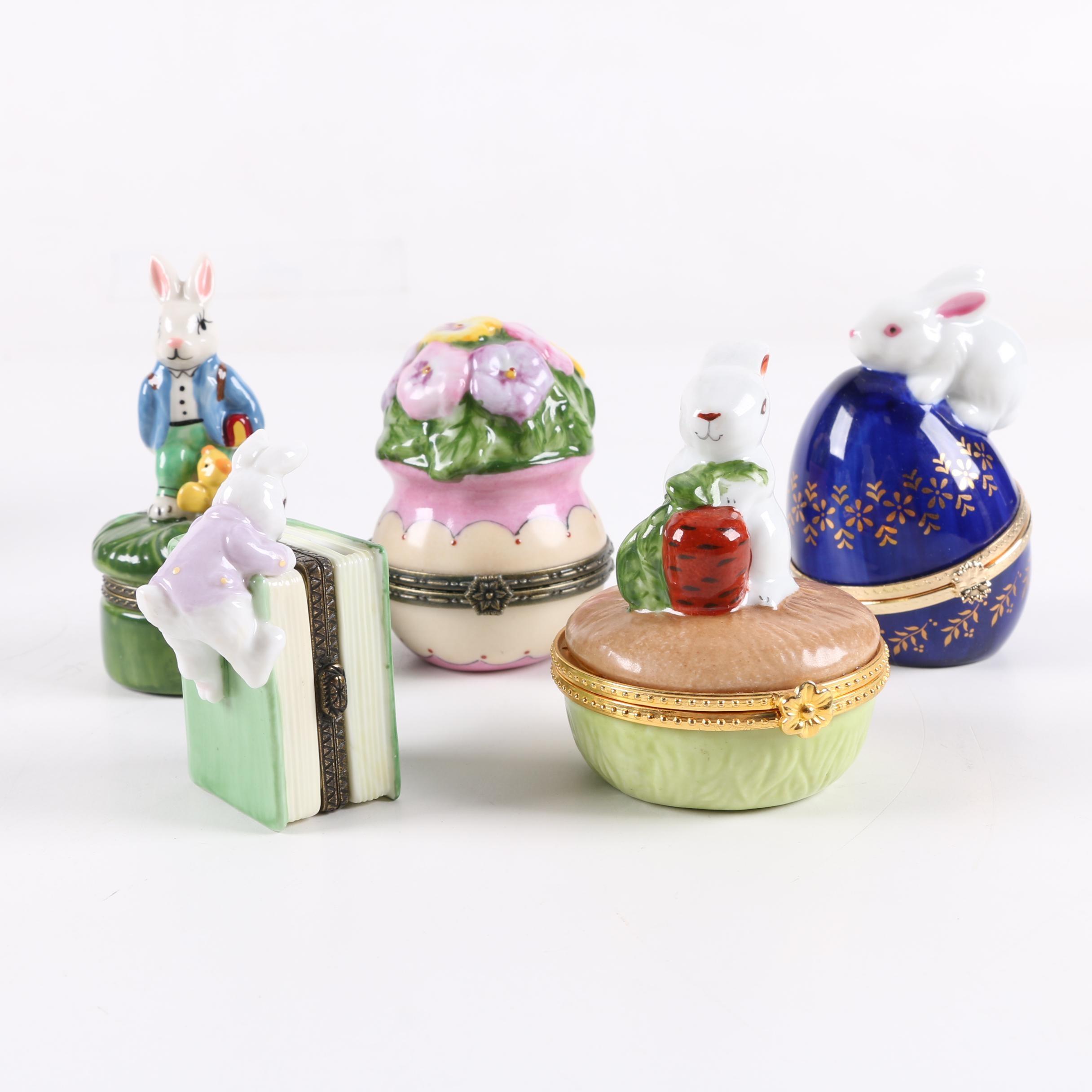 Hand-Painted Porcelain Figural Trinket Boxes
