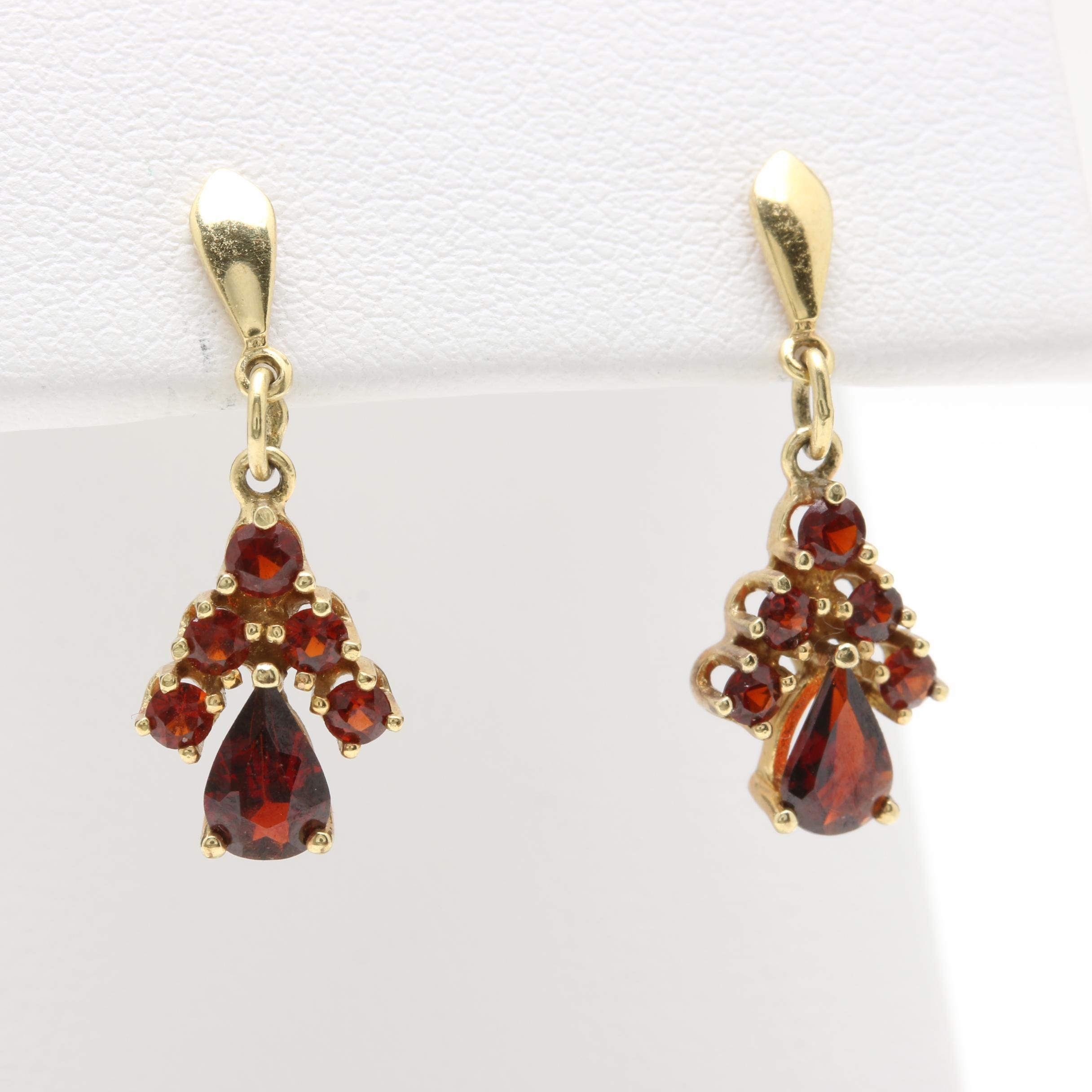 8K Yellow Gold Garnet Dangle Earrings
