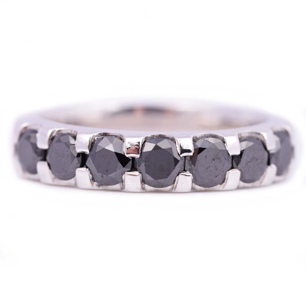 Sterling Silver and Platinum Alloy 1.28 CTW Black Diamond Band