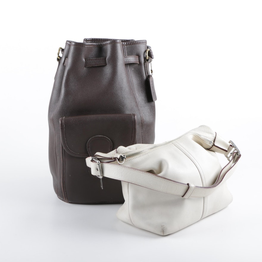 Coach Brown Leather Backpack Purse And Off White Shoulder Bag