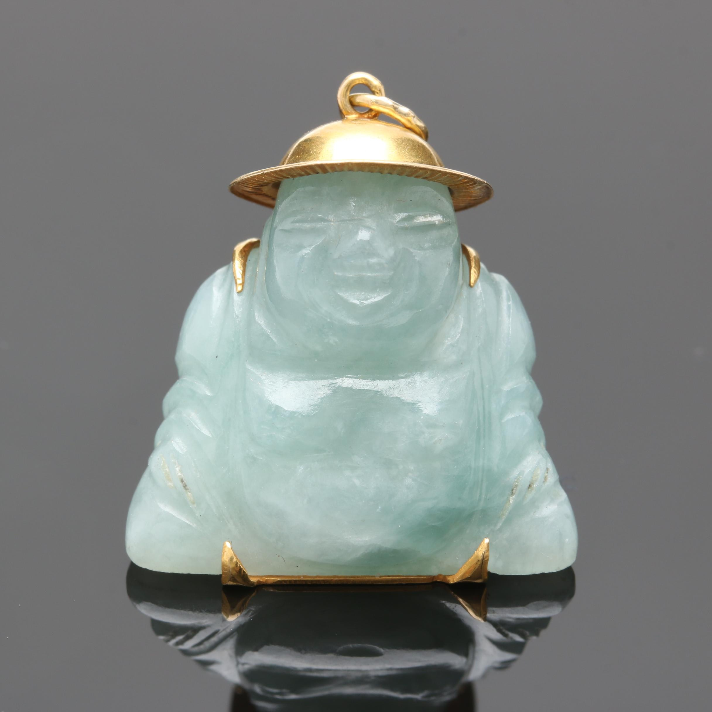 14K Yellow Gold Jadeite Buddah Pendant