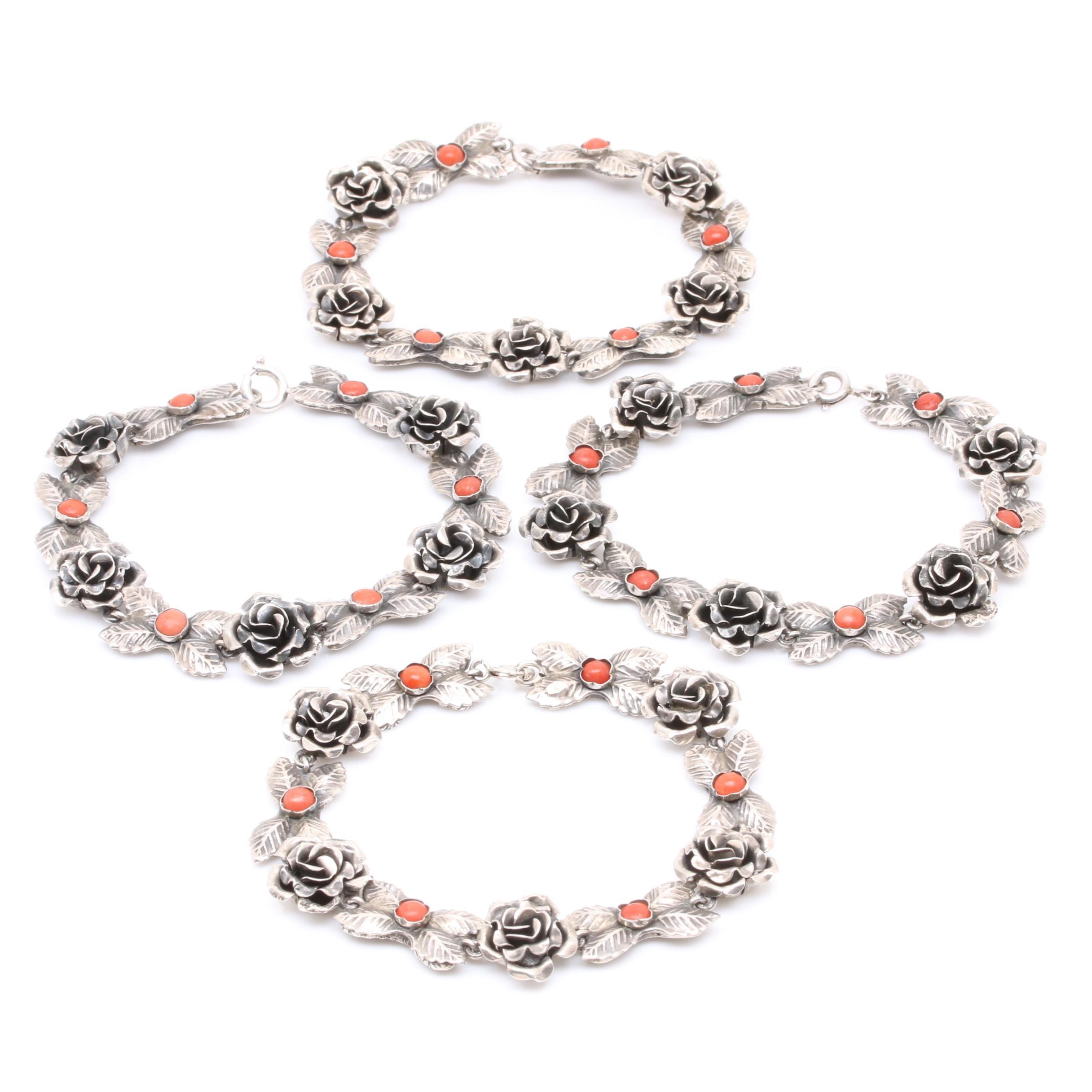 800 Silver Coral Floral Motif Bracelet Necklace Converter