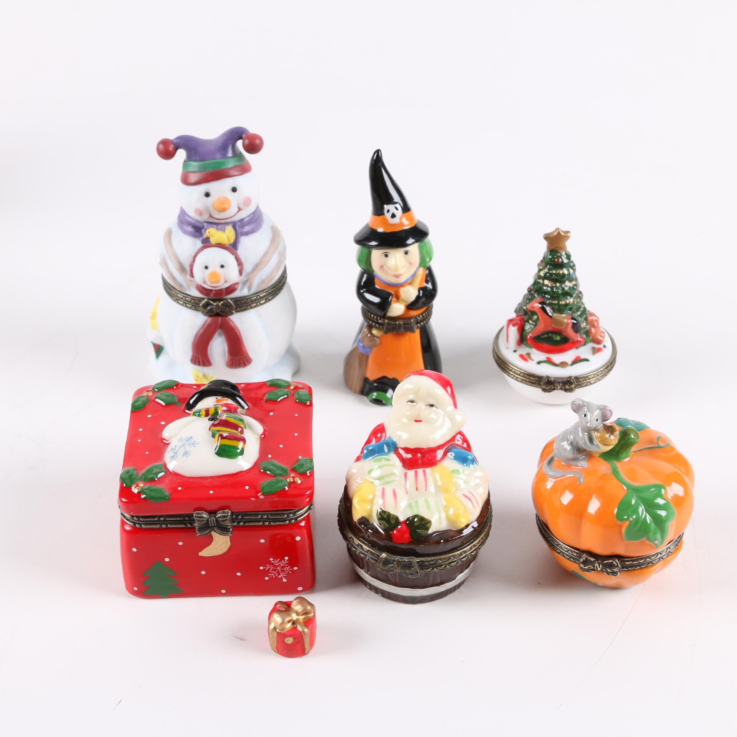 Winter and Fall Themed Porcelain Trinket Boxes