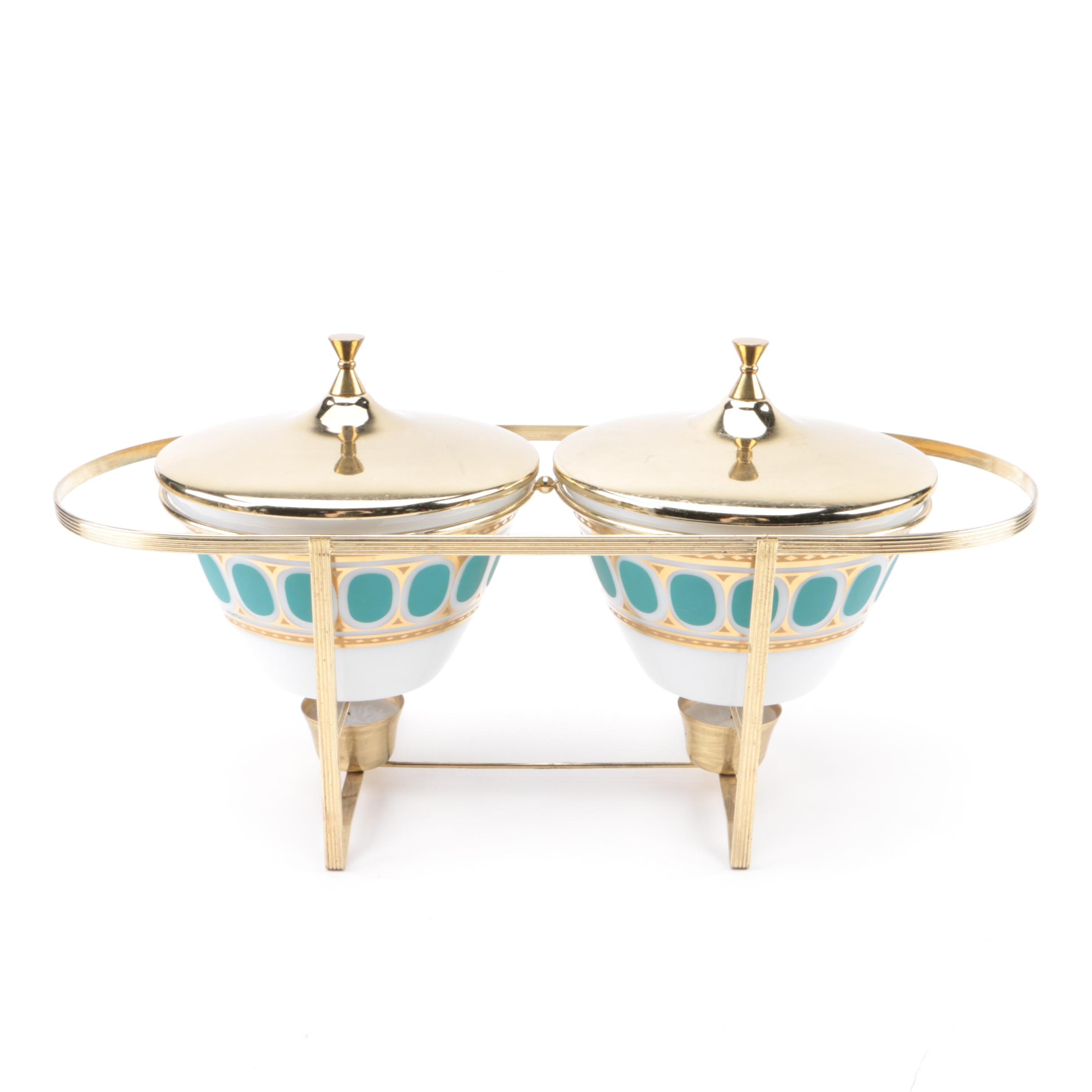 1960s Fire-King Fred Press Design Dual Chafing Dish Set