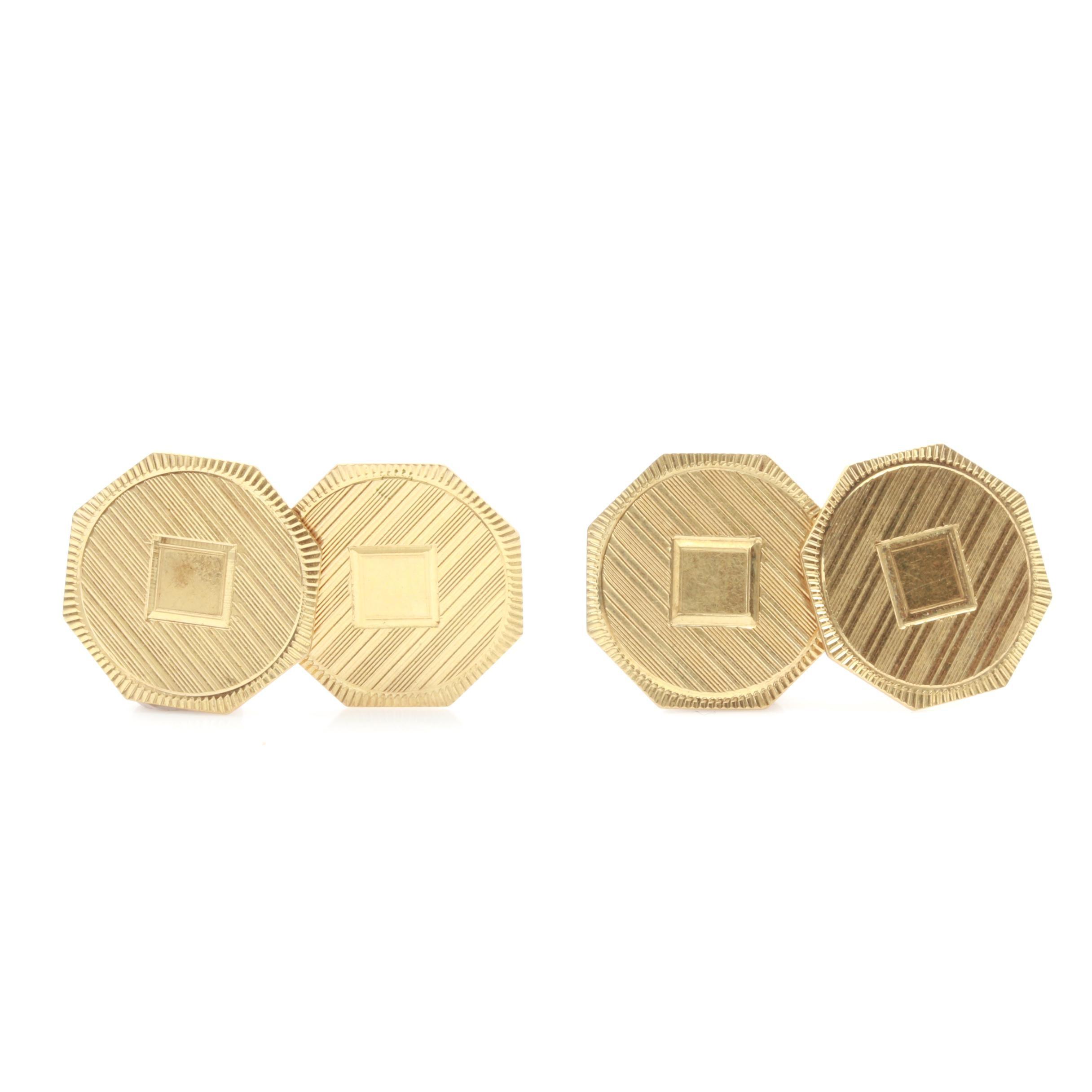 10K Yellow Gold Textured Cuff Links