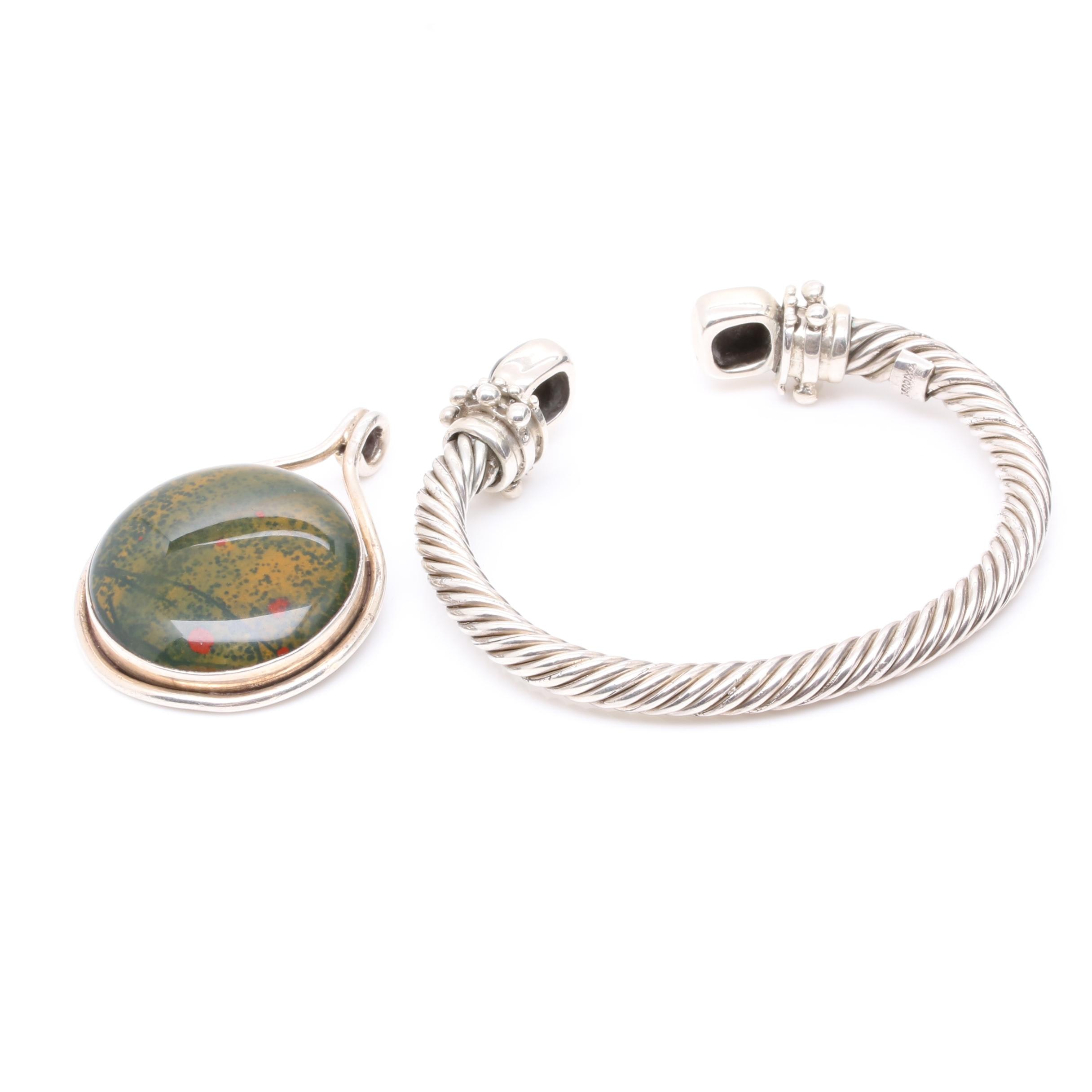 Sterling Silver Pendant and Bracelet Selection Featuring Jasper
