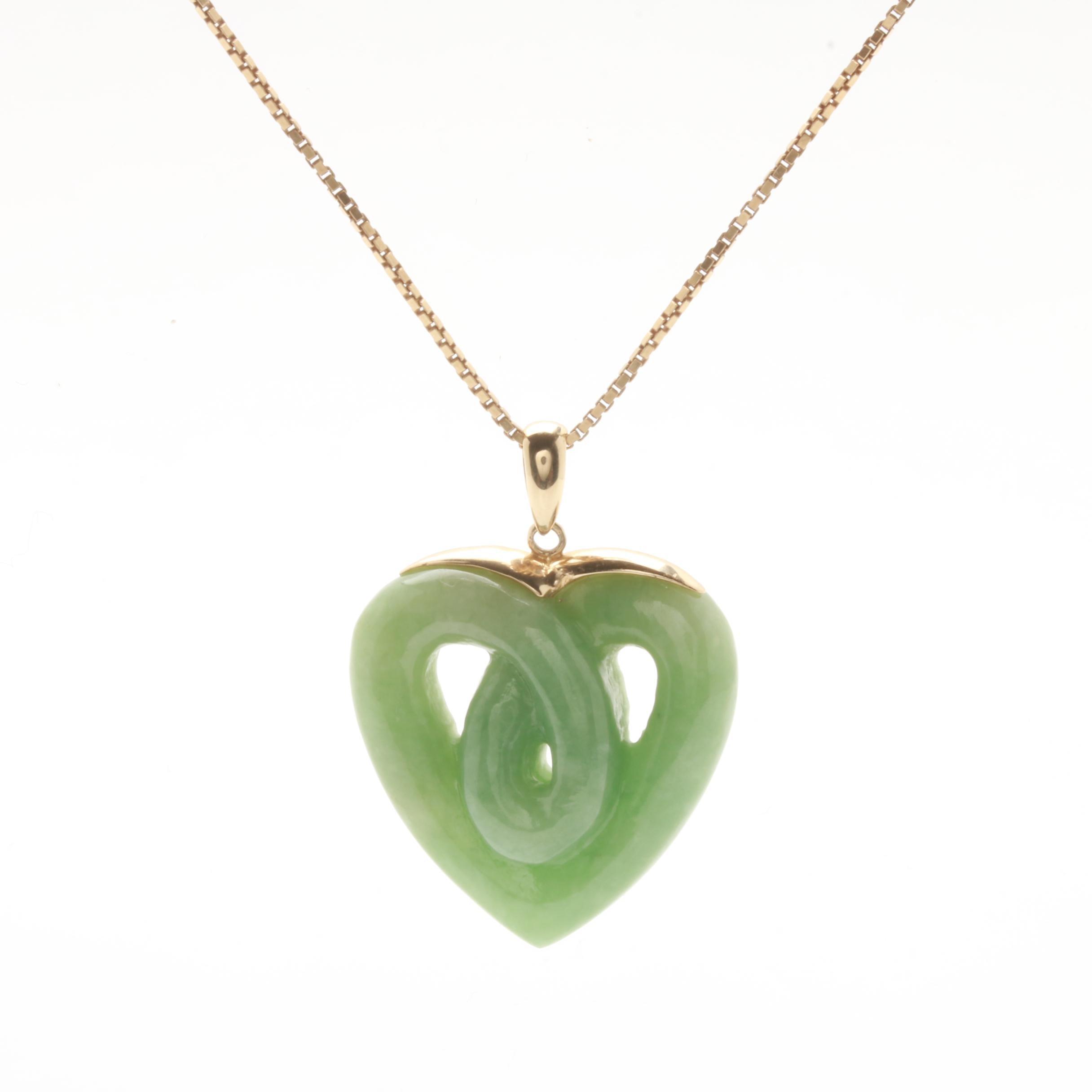 14K Yellow Gold Jadeite Heart Pendant Necklace