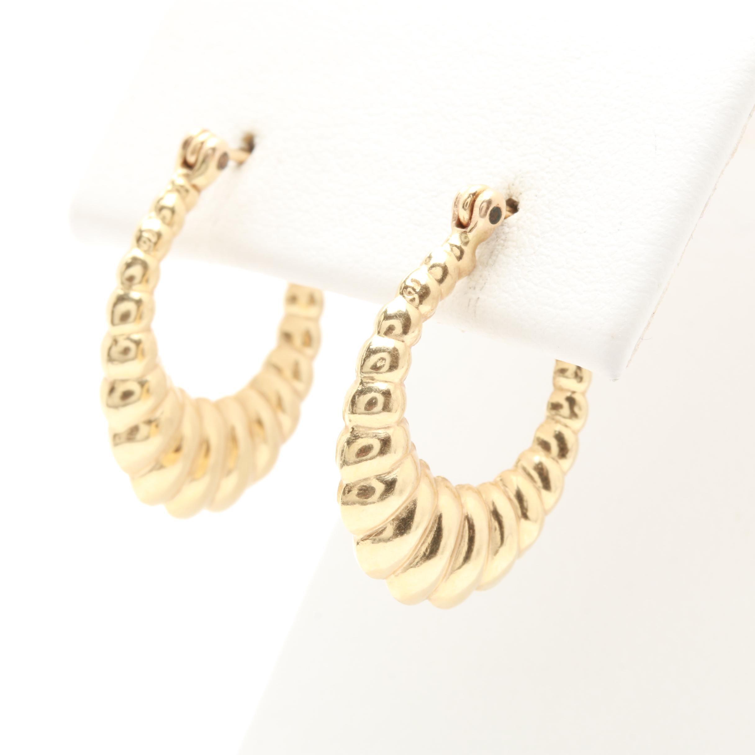 14K Yellow Gold Saddle Hoop Earrings