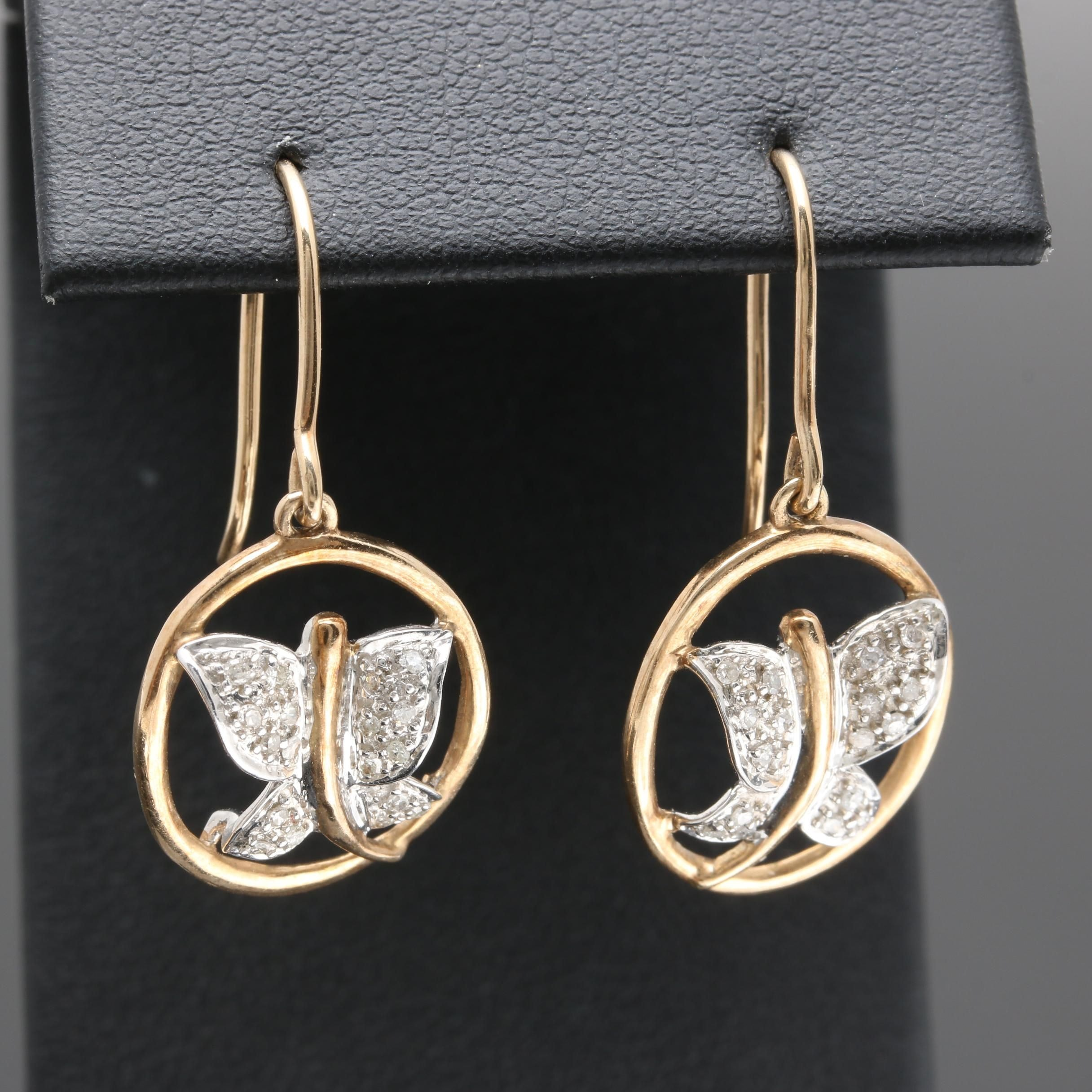 10K Yellow Gold Diamond Butterfly Earrings with White Gold Accents