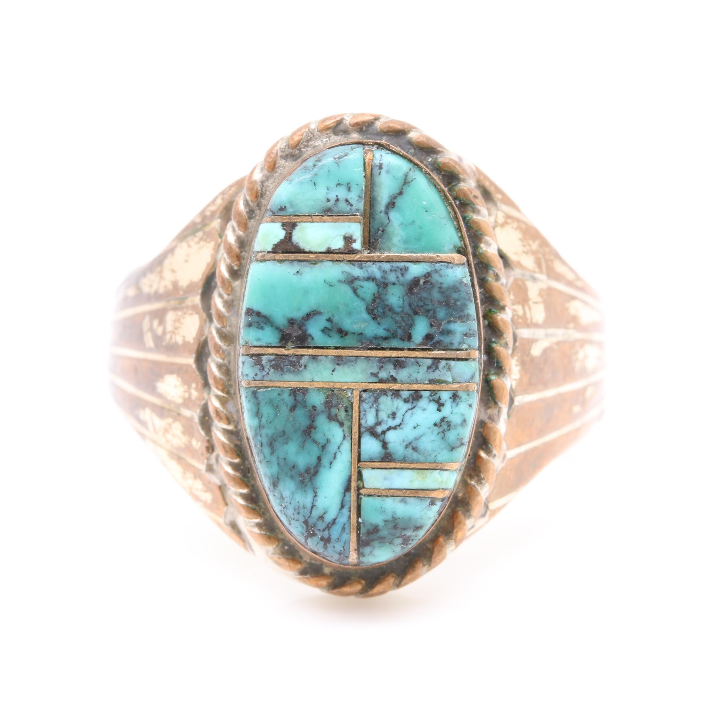 Tommy Jackson Navajo Diné Sterling Silver Turquoise Inlay Ring