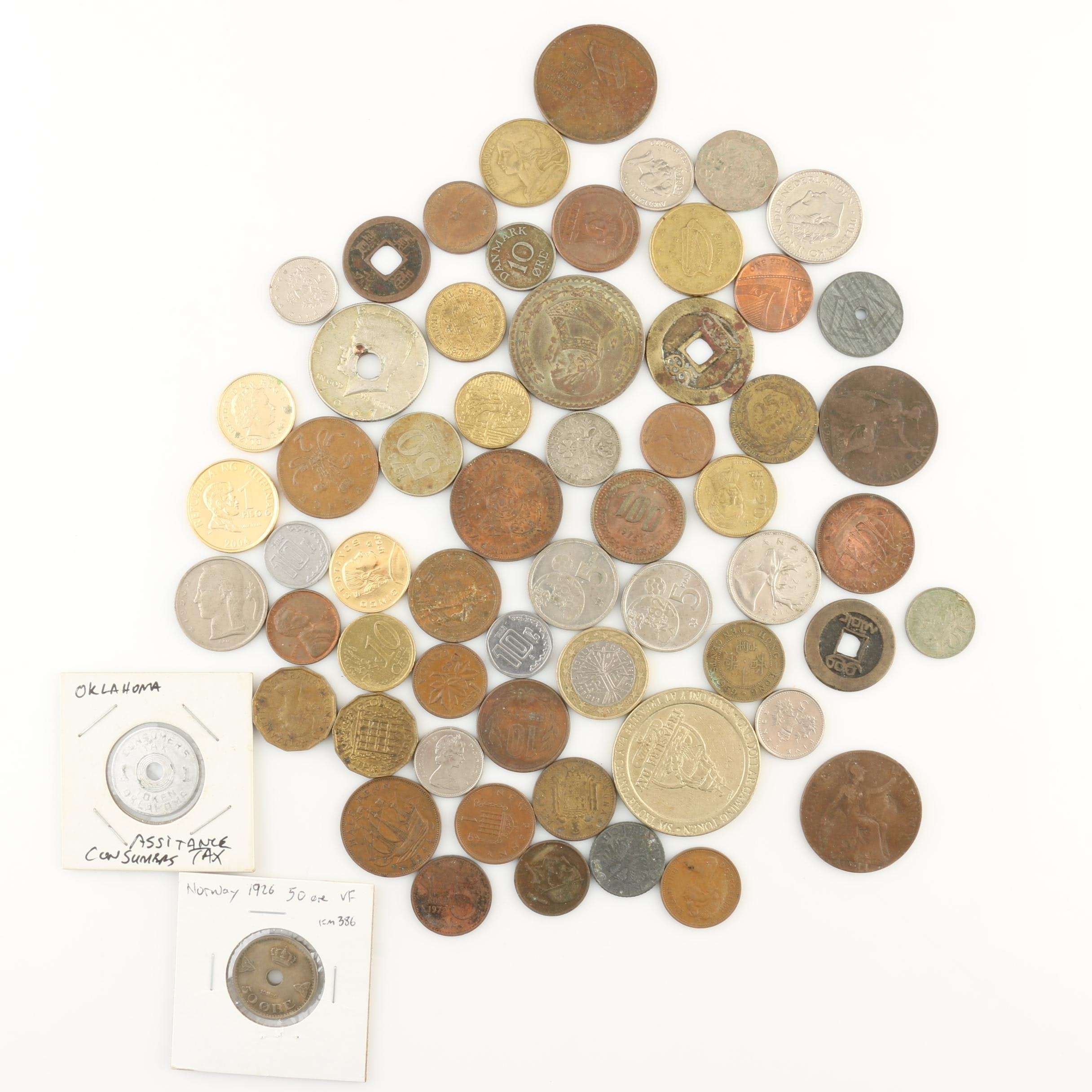 Group of Sixty Foreign Coins