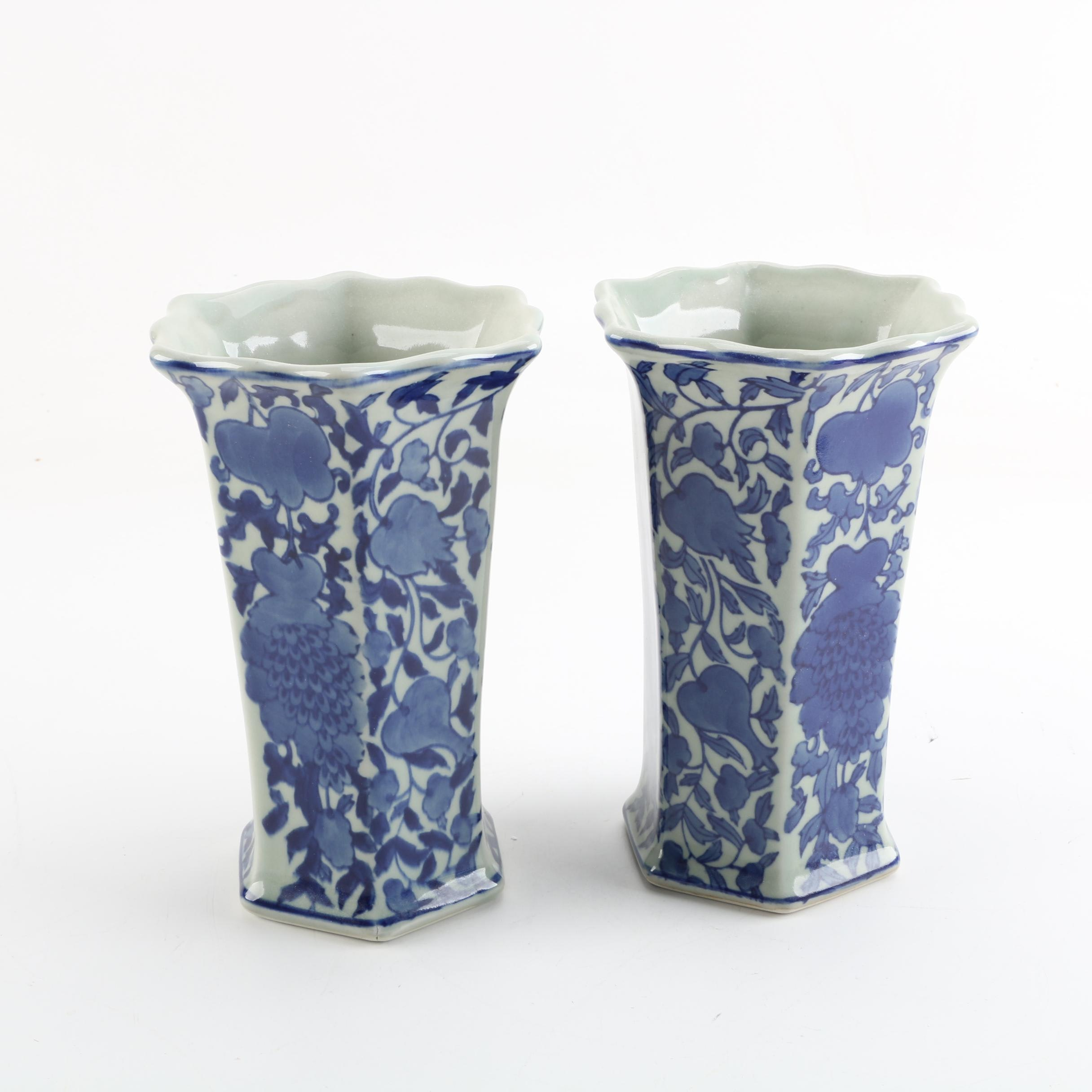 Chinese Blue and White Hand-Painted Porcelain Vases