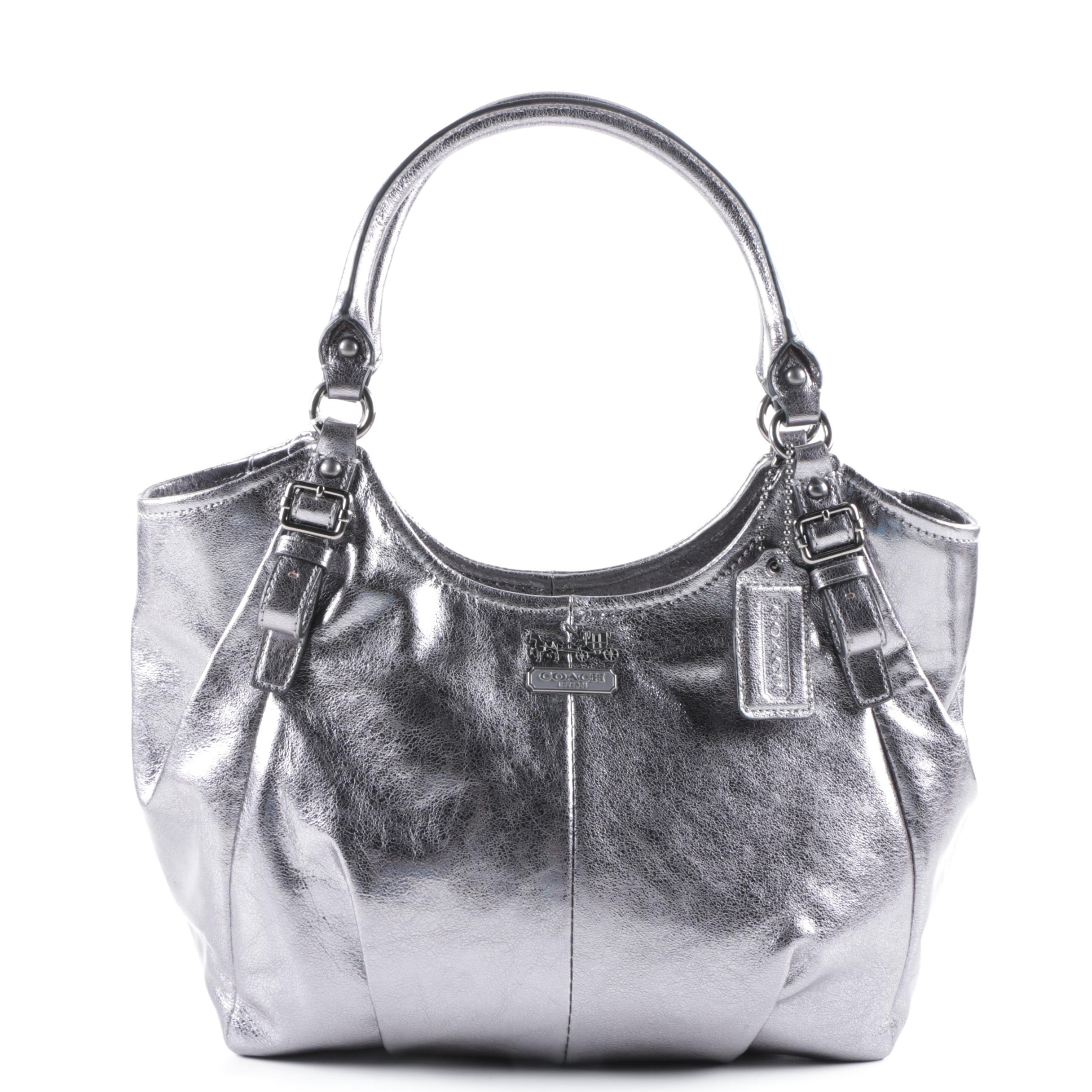Coach Madison Abigail Metallic Silver Tone Leather Handbag