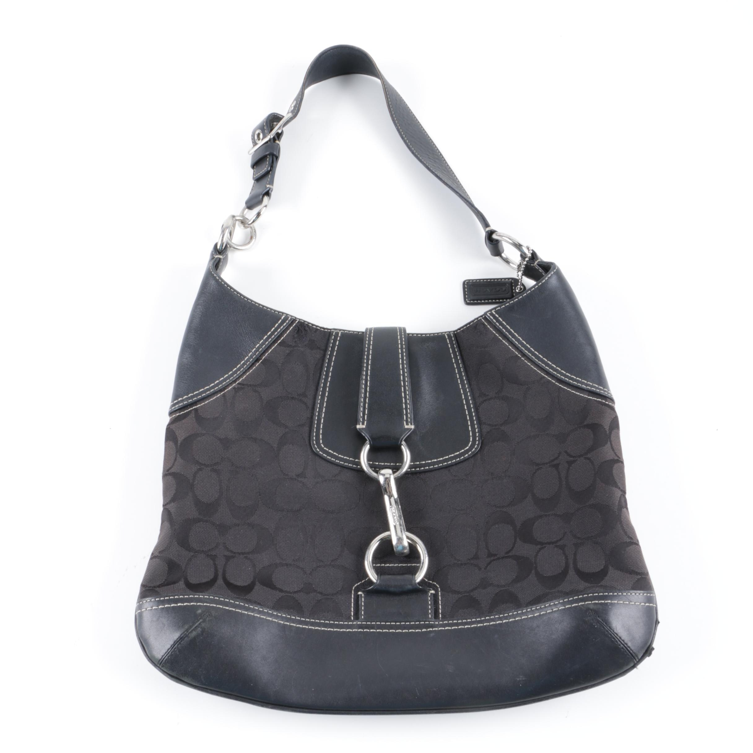 Coach Signature Black Canvas and Leather Hobo Bag